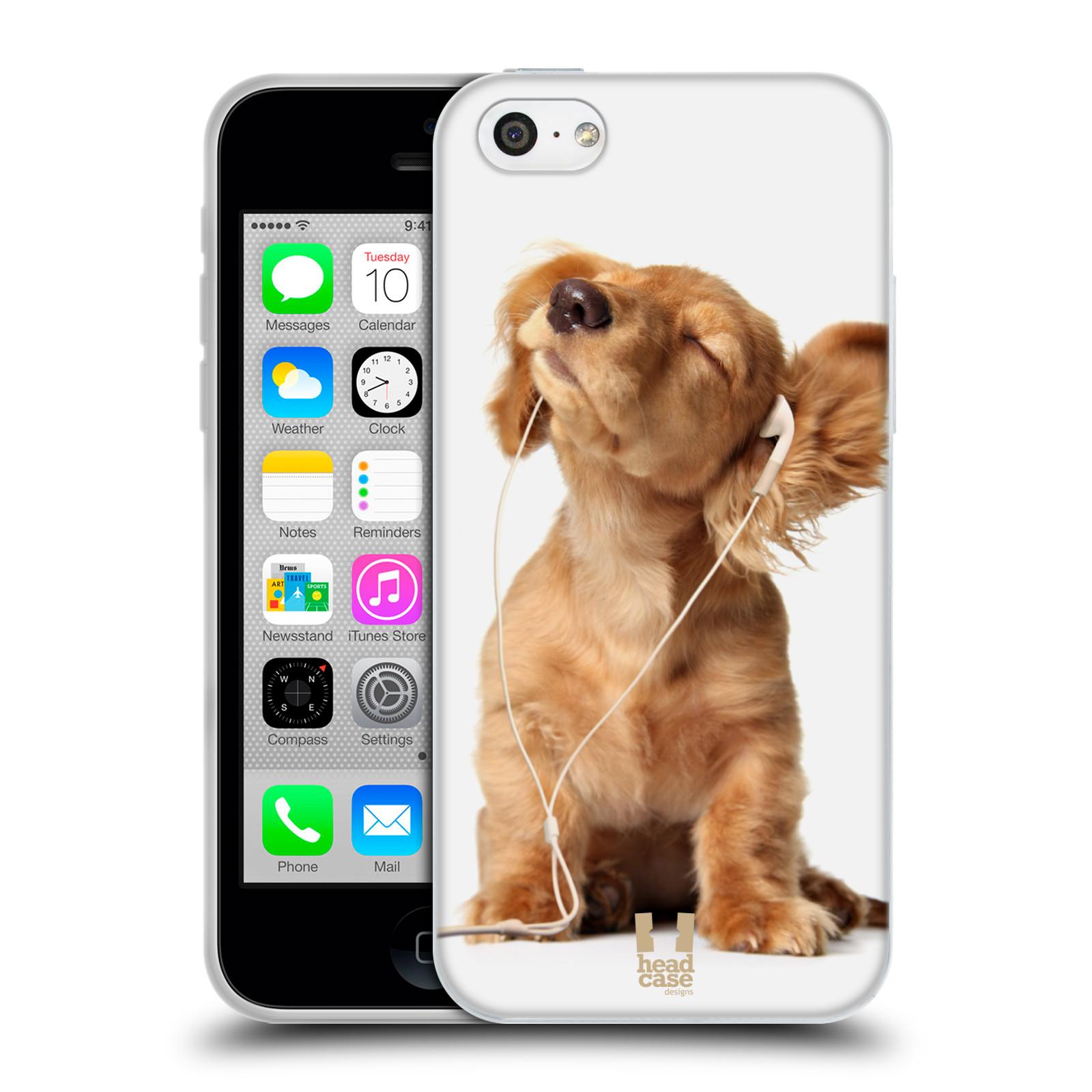HEAD CASE silikonový obal na mobil Apple Iphone 5C vzor Legrační zvířátka roztomilé štěňátko se sluchátky MUSIC