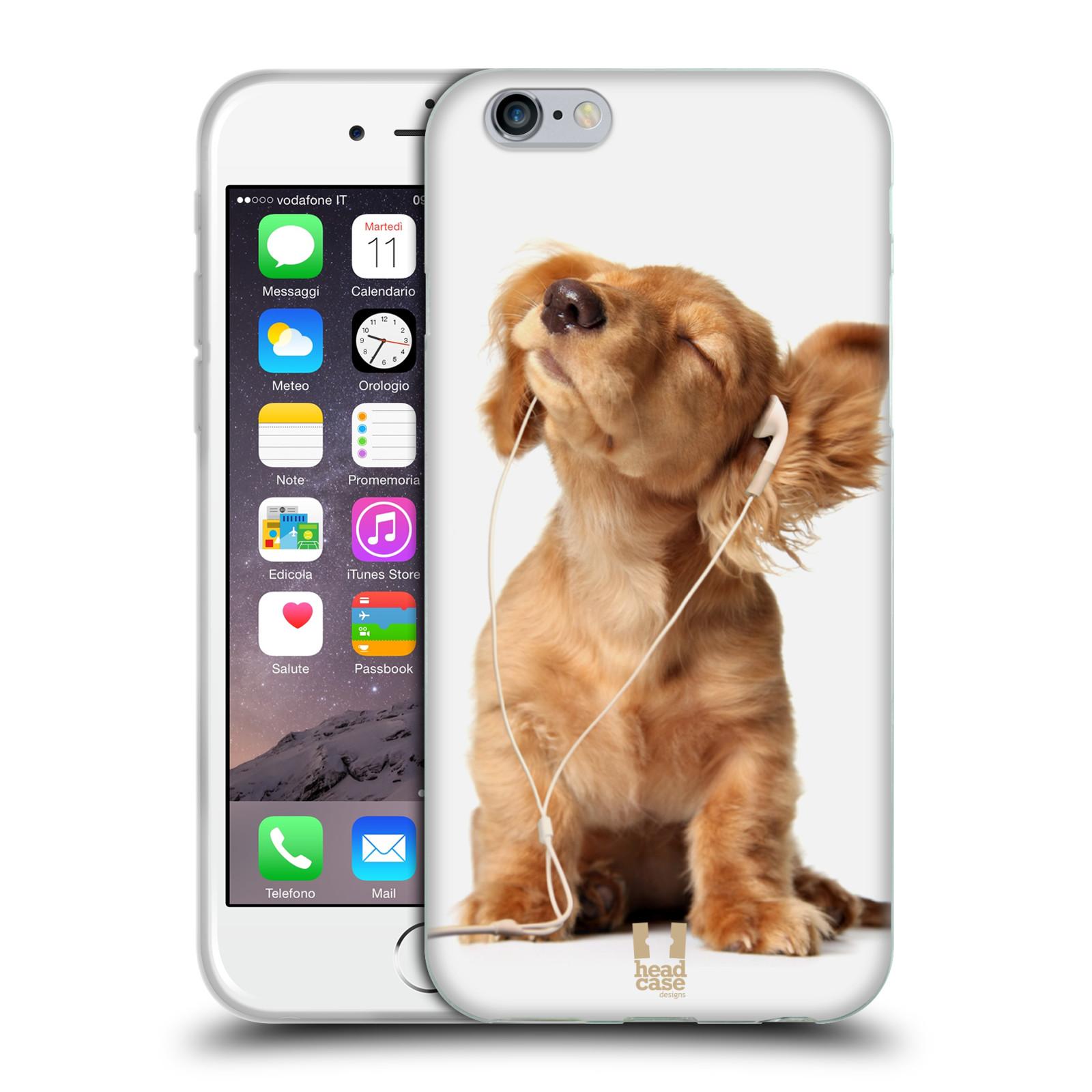 HEAD CASE silikonový obal na mobil Apple Iphone 6/6S vzor Legrační zvířátka roztomilé štěňátko se sluchátky MUSIC
