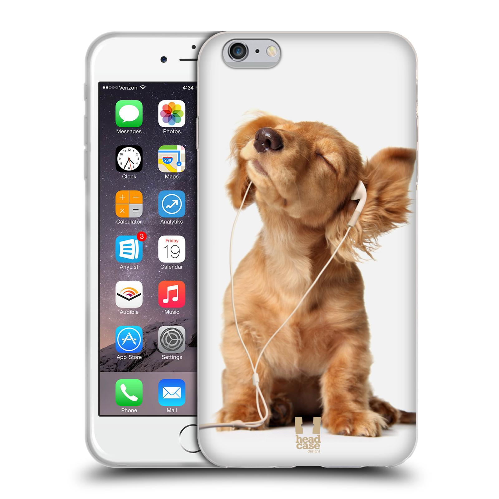 HEAD CASE silikonový obal na mobil Apple Iphone 6 PLUS/ 6S PLUS vzor Legrační zvířátka roztomilé štěňátko se sluchátky MUSIC