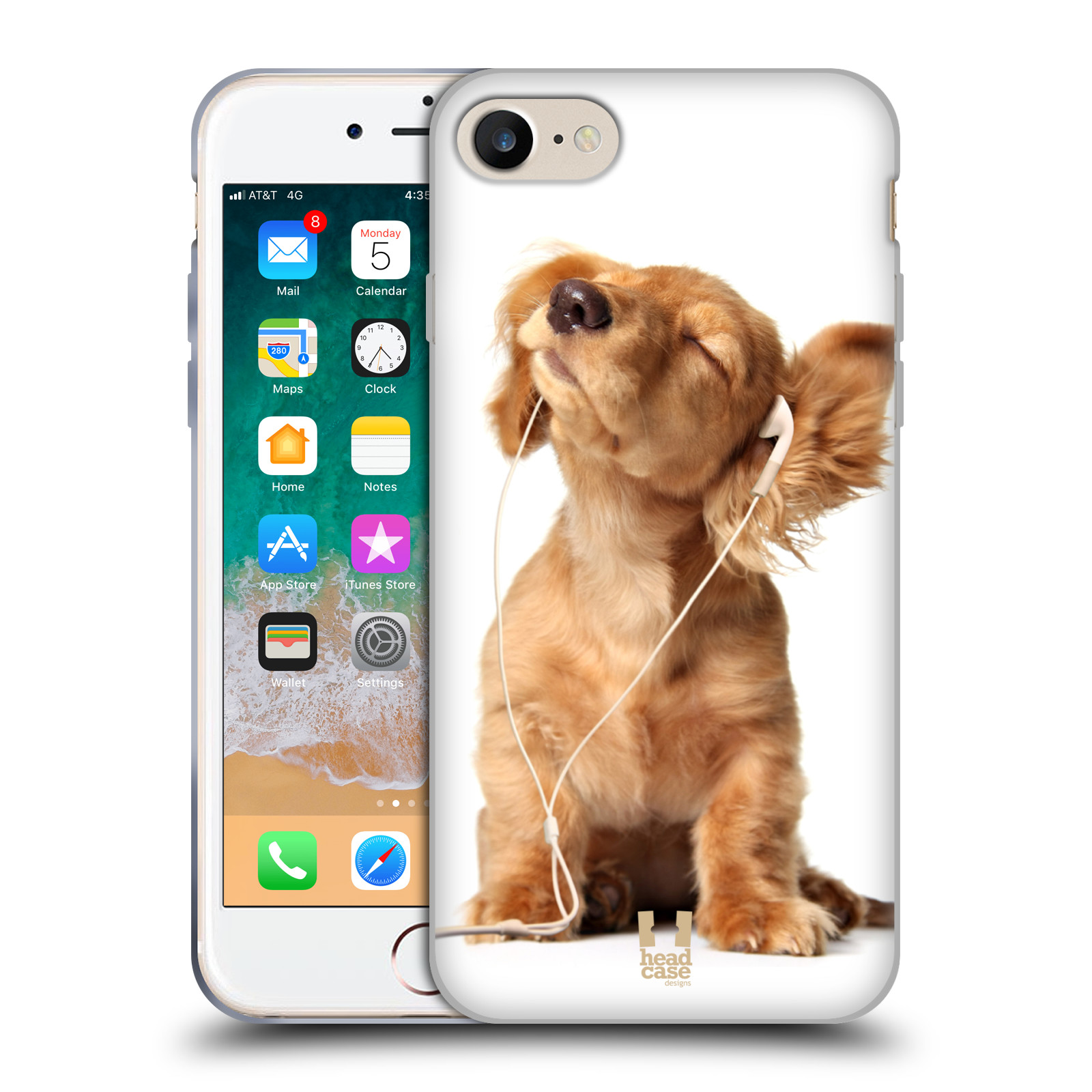 HEAD CASE silikonový obal na mobil Apple Iphone 7 vzor Legrační zvířátka roztomilé štěňátko se sluchátky MUSIC