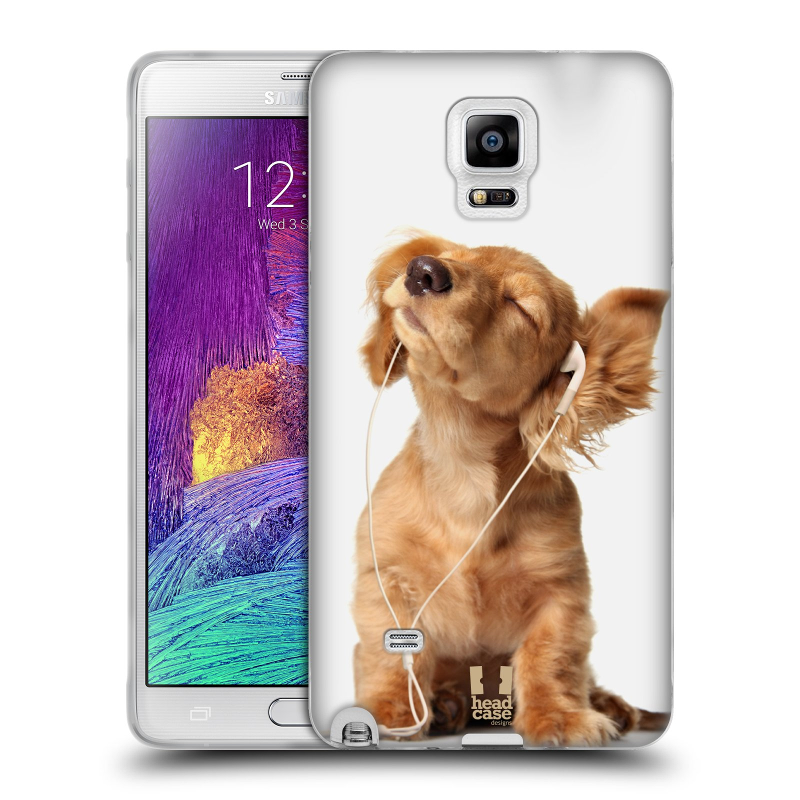 HEAD CASE silikonový obal na mobil Samsung Galaxy Note 4 (N910) vzor Legrační zvířátka roztomilé štěňátko se sluchátky MUSIC