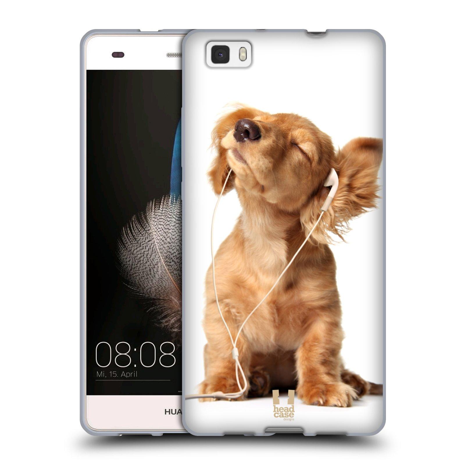 HEAD CASE silikonový obal na mobil Huawei  P8 LITE Legrační zvířátka roztomilé štěňátko poslouchající hudbu