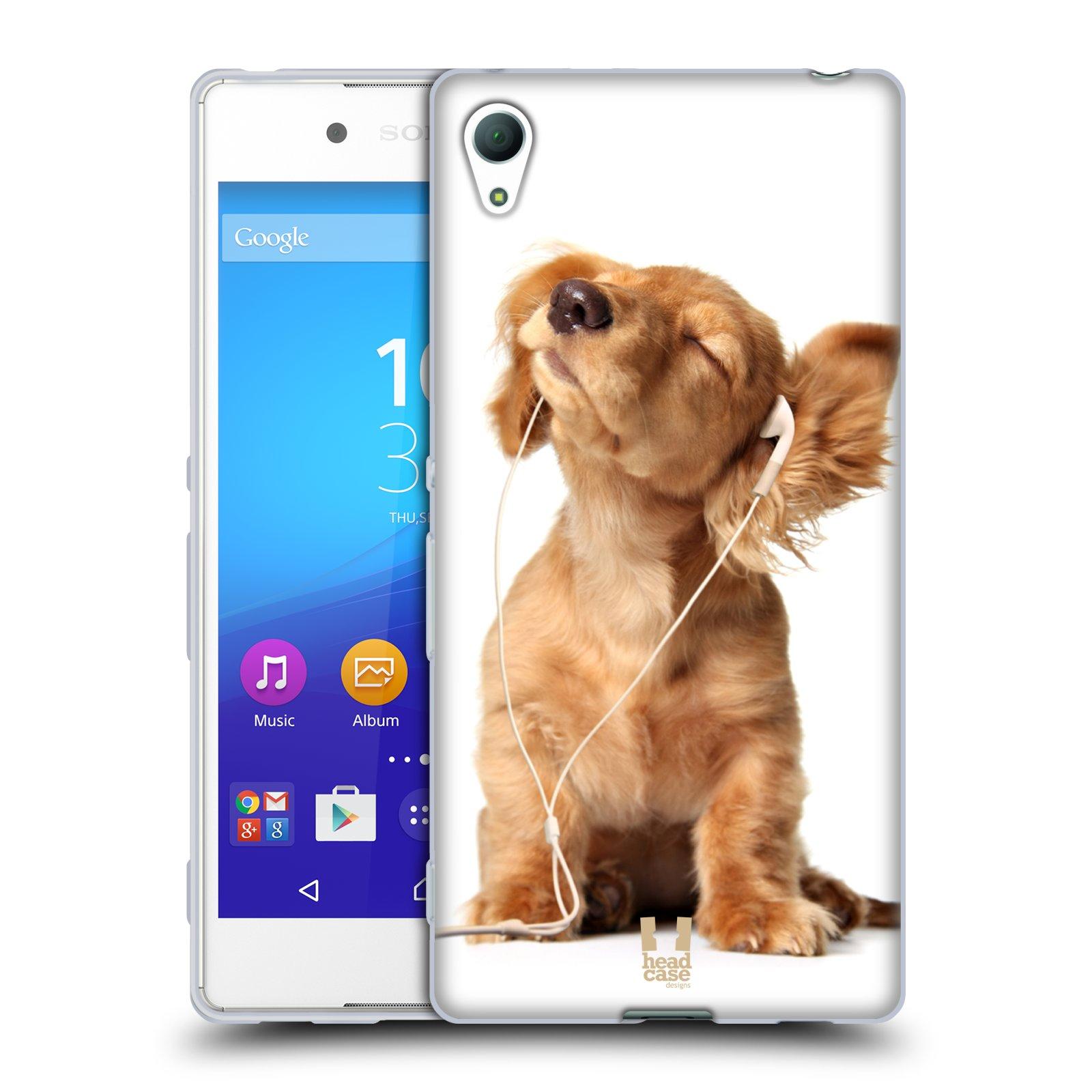 HEAD CASE silikonový obal na mobil Sony Xperia Z3 + (PLUS) vzor Legrační zvířátka roztomilé štěňátko se sluchátky MUSIC
