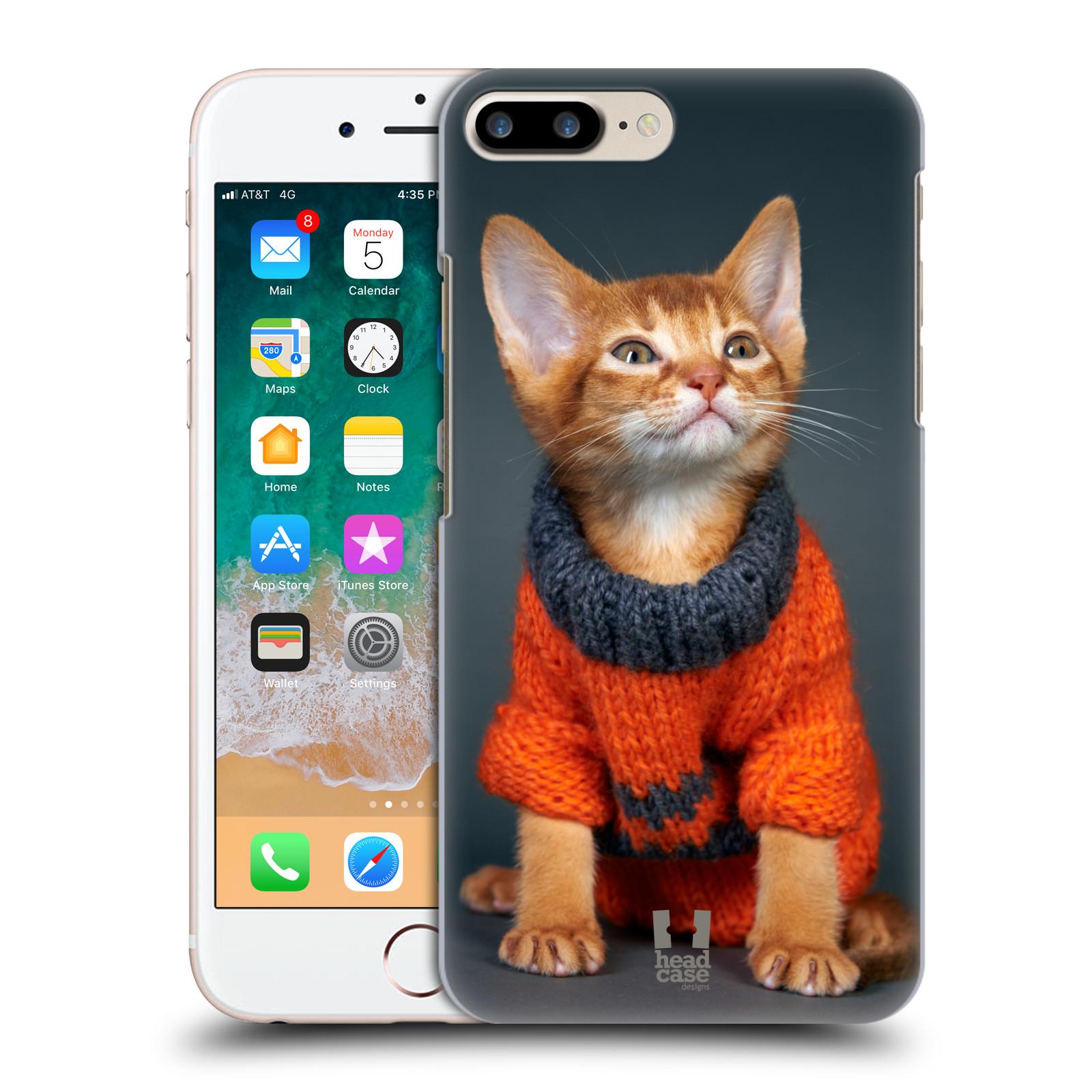 HEAD CASE plastový obal na mobil Apple Iphone 7 PLUS vzor Legrační zvířátka kočička v oranžovém svetru