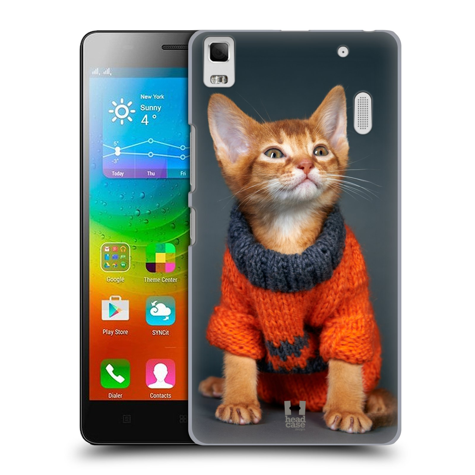 HEAD CASE pevný plastový obal na mobil LENOVO A7000 / A7000 DUAL / K3 NOTE vzor Legrační zvířátka kočička v oranžovém svetru