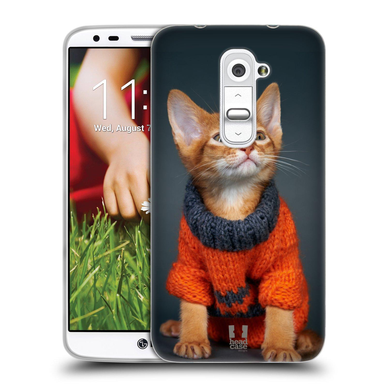 HEAD CASE silikonový obal na mobil LG G2 vzor Legrační zvířátka kočička v oranžovém svetru