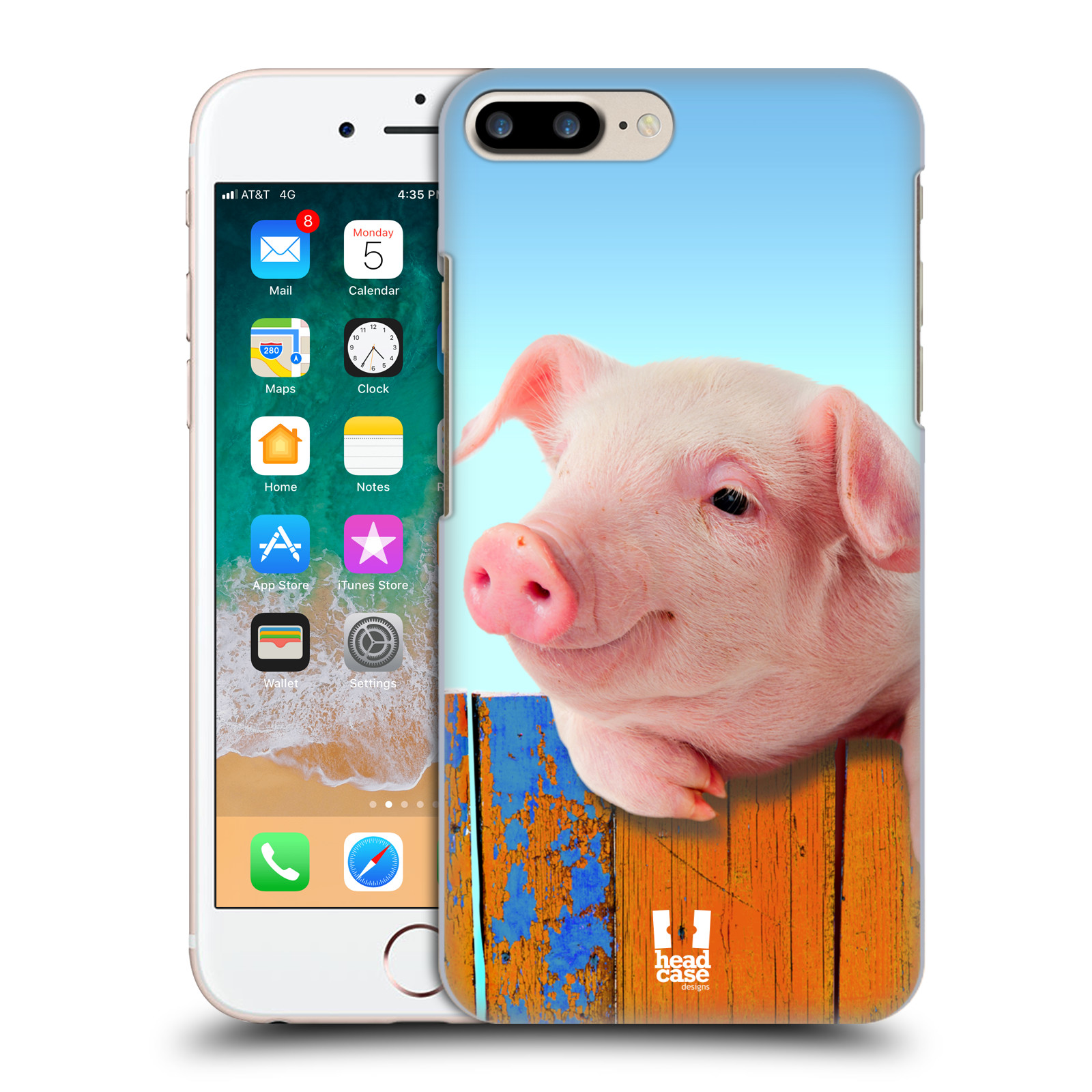 HEAD CASE plastový obal na mobil Apple Iphone 7 PLUS vzor Legrační zvířátka prasátko růžová