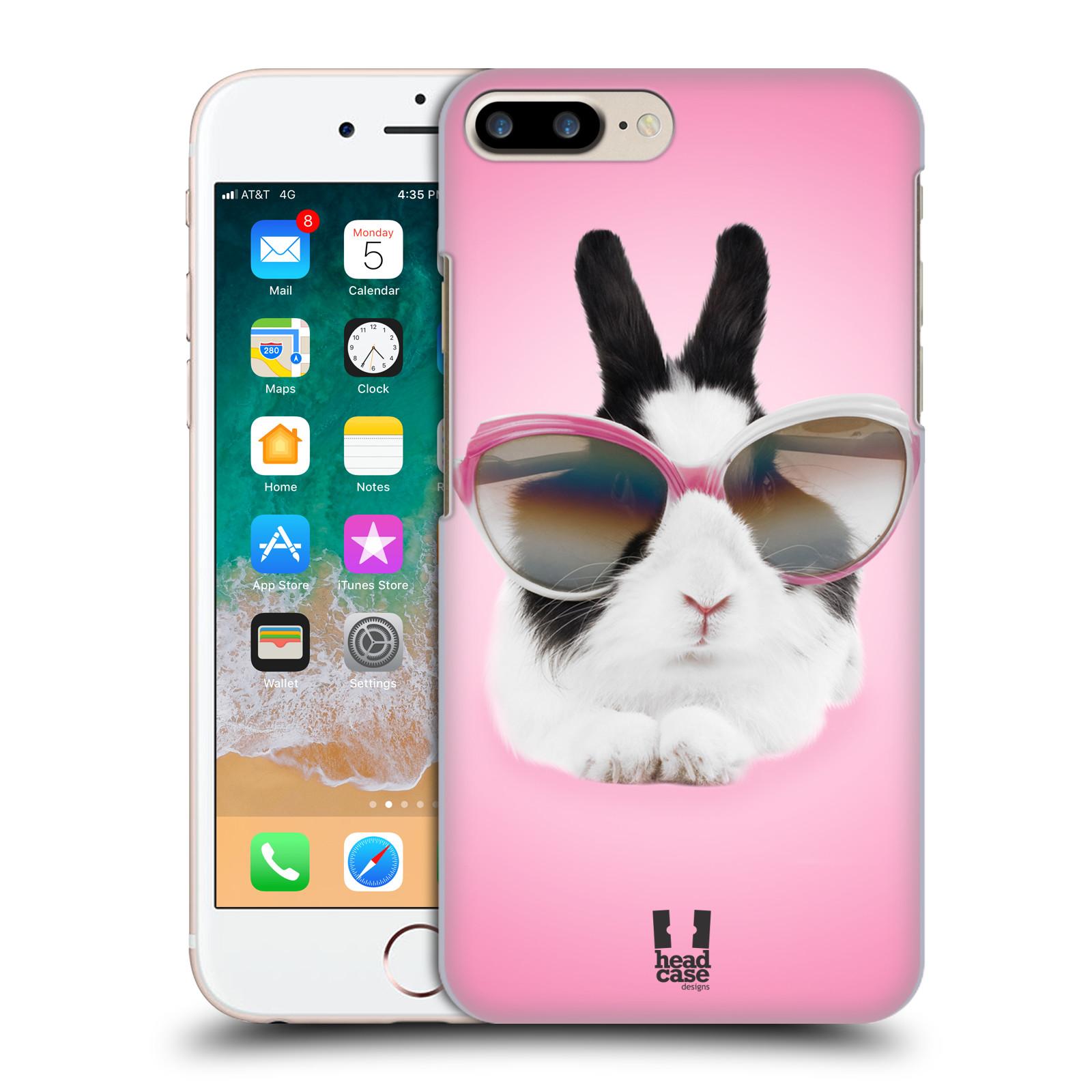 HEAD CASE plastový obal na mobil Apple Iphone 7 PLUS vzor Legrační zvířátka roztomilý králíček s brýlemi růžová