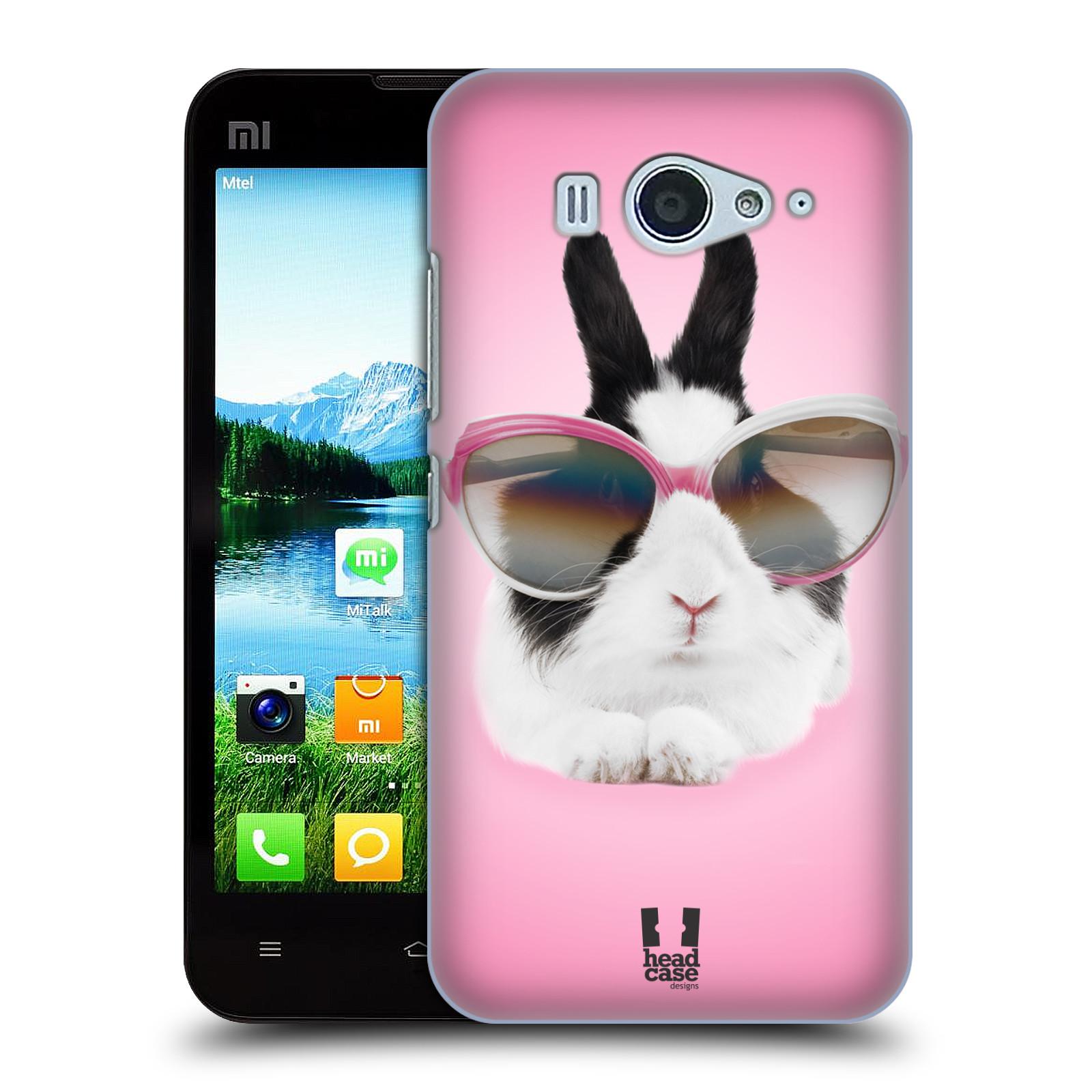 HEAD CASE pevný plastový obal na mobil XIAOMI MI2s vzor Legrační zvířátka roztomilý králíček s brýlemi růžová