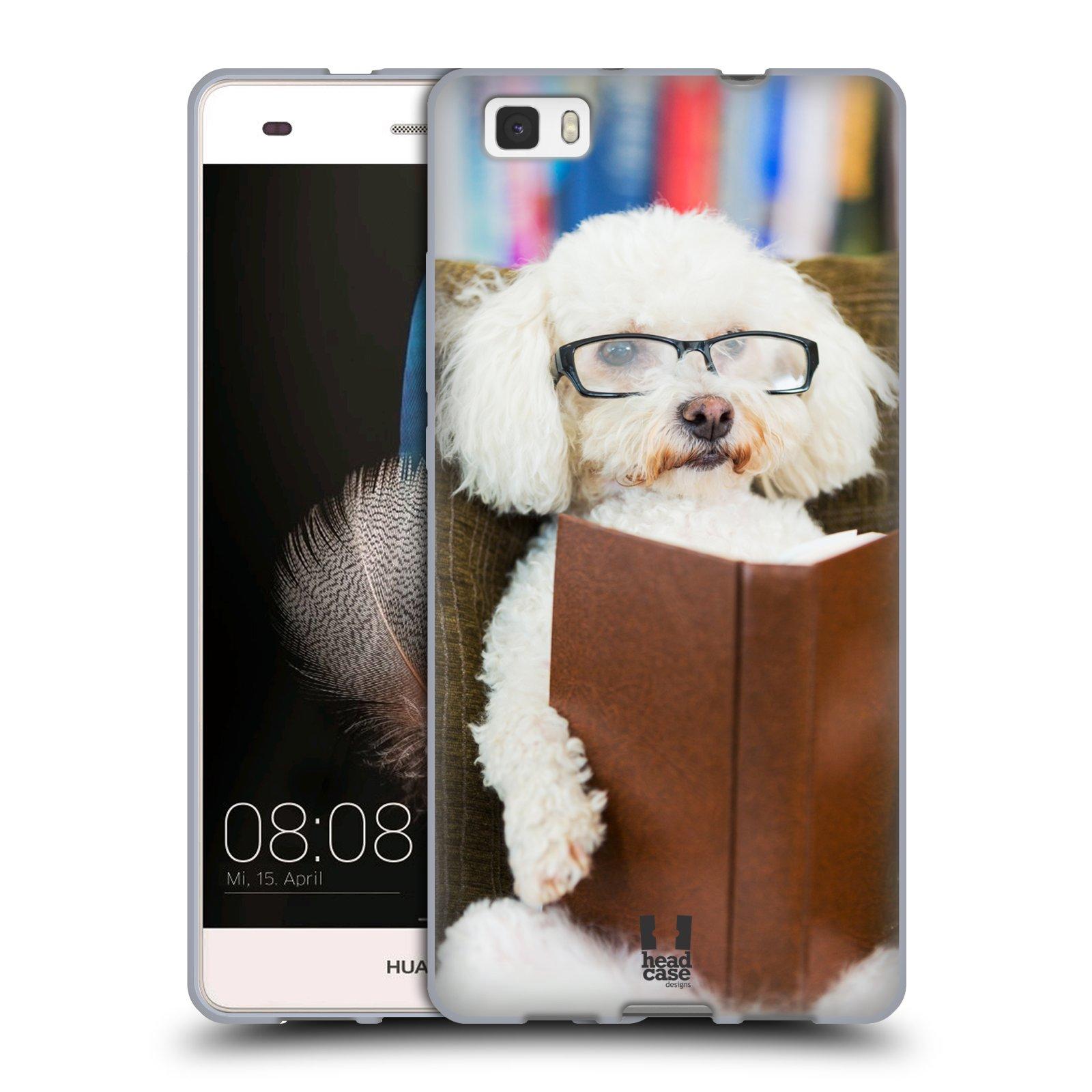 HEAD CASE silikonový obal na mobil Huawei  P8 LITE Legrační zvířátka pejsek čtenář