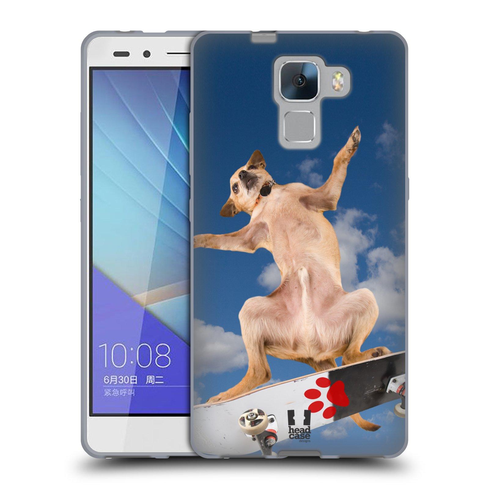 HEAD CASE silikonový obal na mobil Huawei  Honor 7 Legrační zvířátka pejsek na skateboardu
