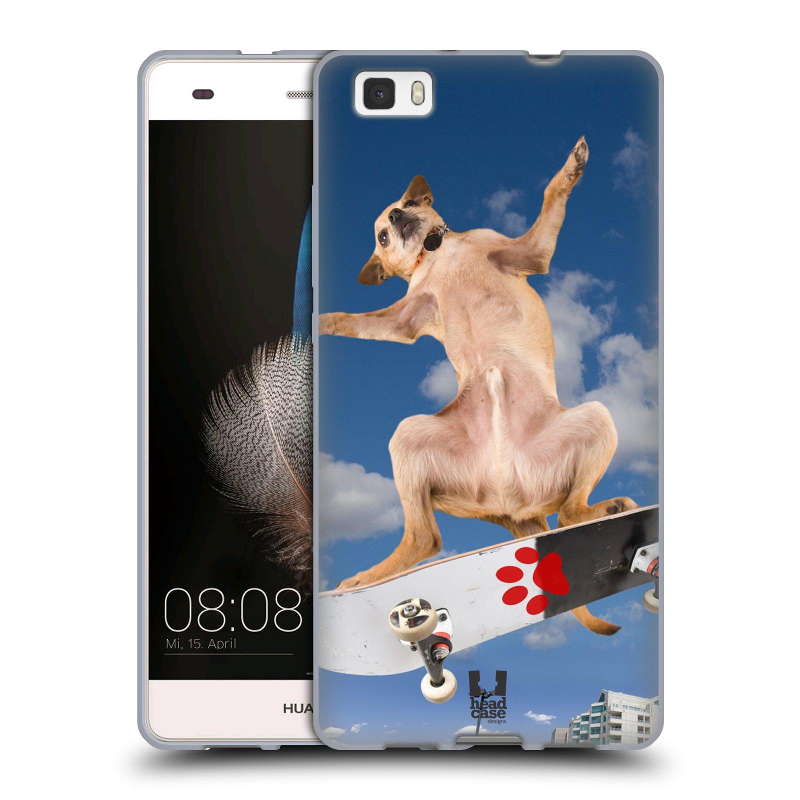 HEAD CASE silikonový obal na mobil Huawei  P8 LITE Legrační zvířátka pejsek na skateboardu
