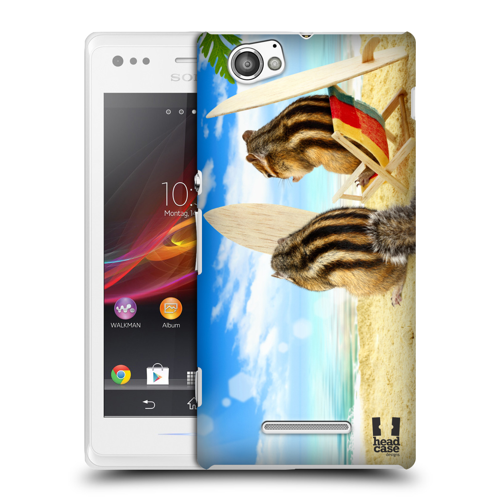 HEAD CASE plastový obal na mobil Sony Xperia M vzor Legrační zvířátka veverky surfaři u moře