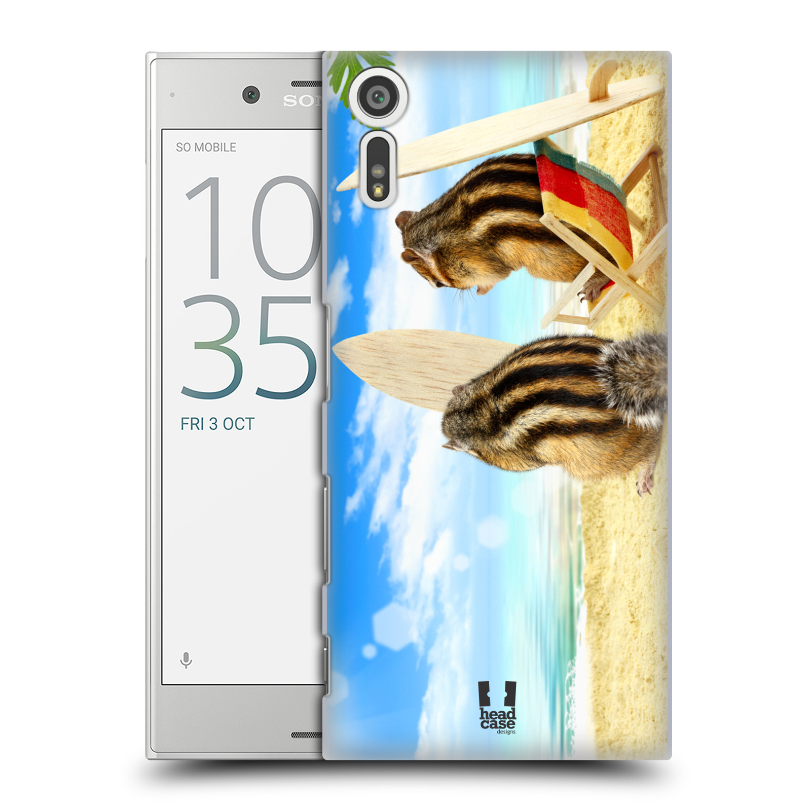 HEAD CASE plastový obal na mobil Sony Xperia XZ vzor Legrační zvířátka veverky surfaři u moře
