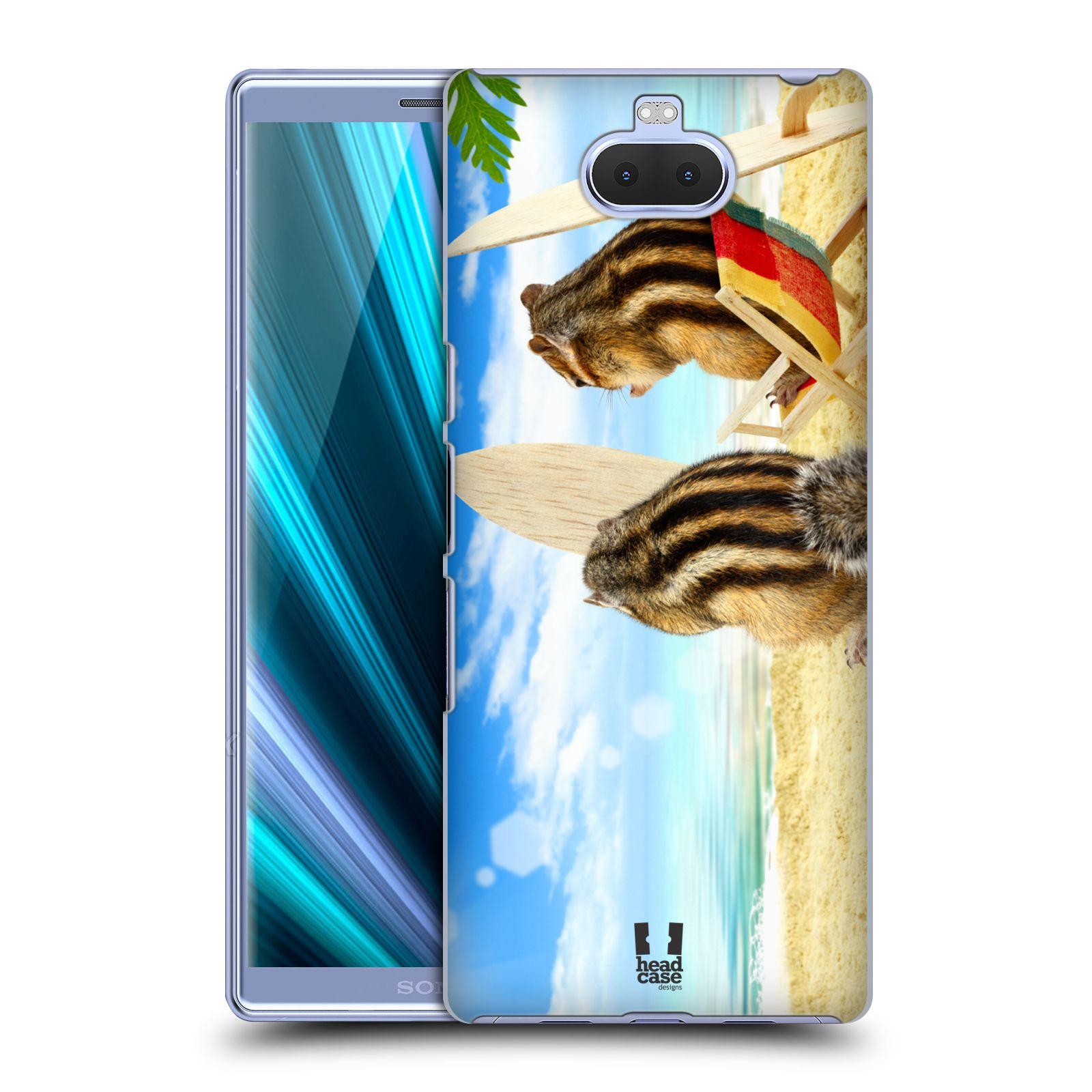 Pouzdro na mobil Sony Xperia 10 - Head Case - vzor Legrační zvířátka veverky surfaři u moře