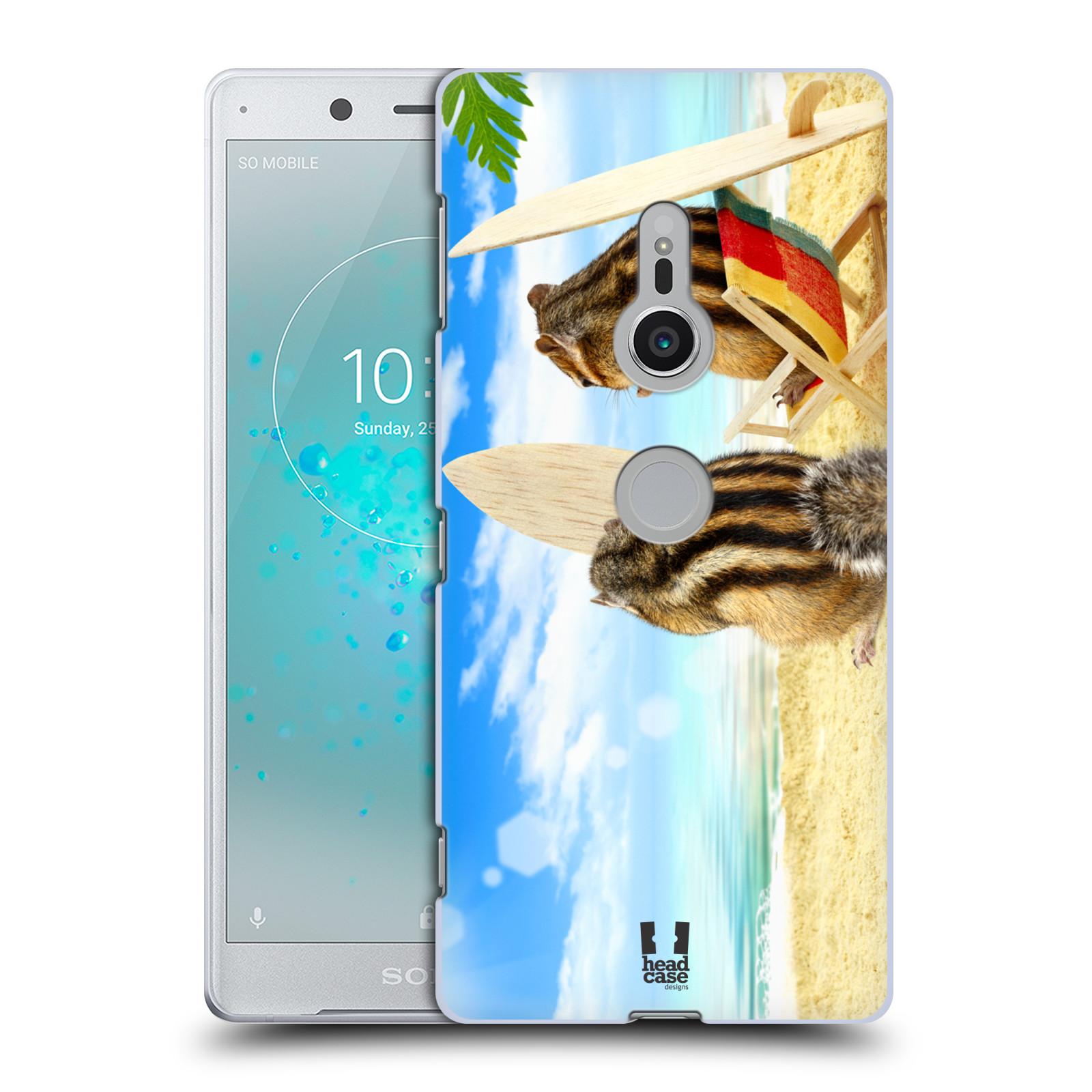 HEAD CASE plastový obal na mobil Sony Xperia XZ2 vzor Legrační zvířátka veverky surfaři u moře