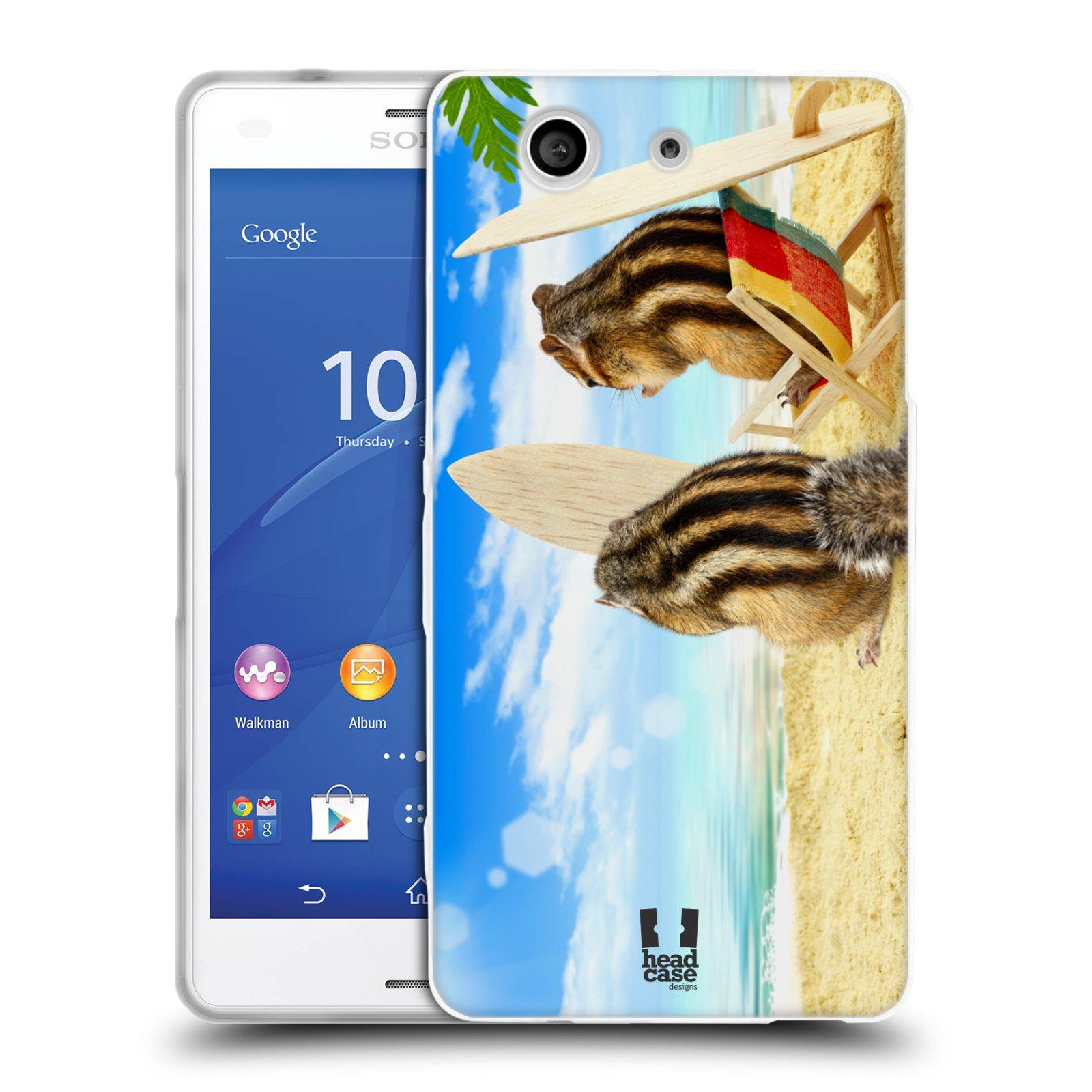 HEAD CASE silikonový obal na mobil Sony Xperia Z3 COMPACT (D5803) vzor Legrační zvířátka veverky surfaři u moře