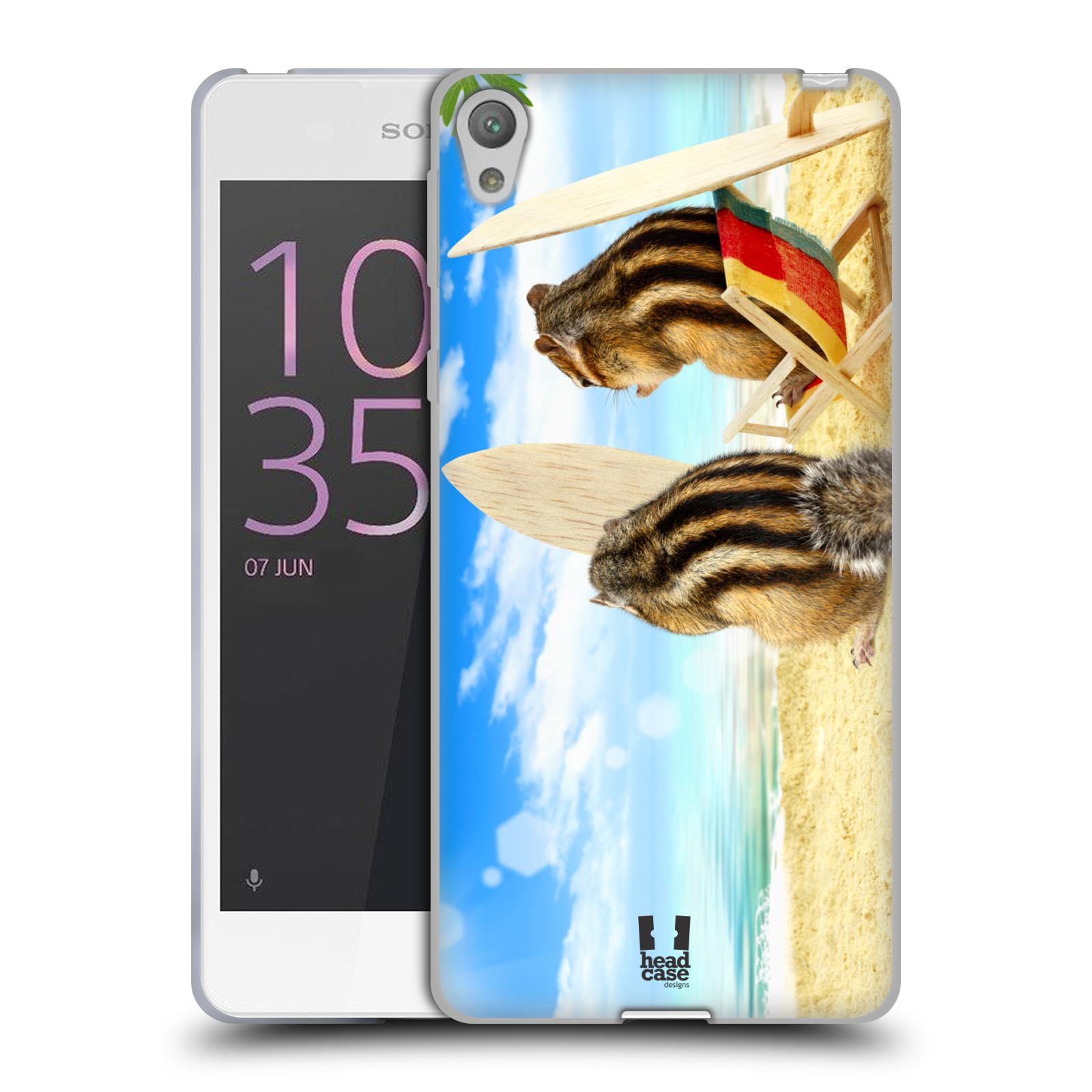 HEAD CASE silikonový obal na mobil SONY XPERIA E5 vzor Legrační zvířátka veverky surfaři u moře