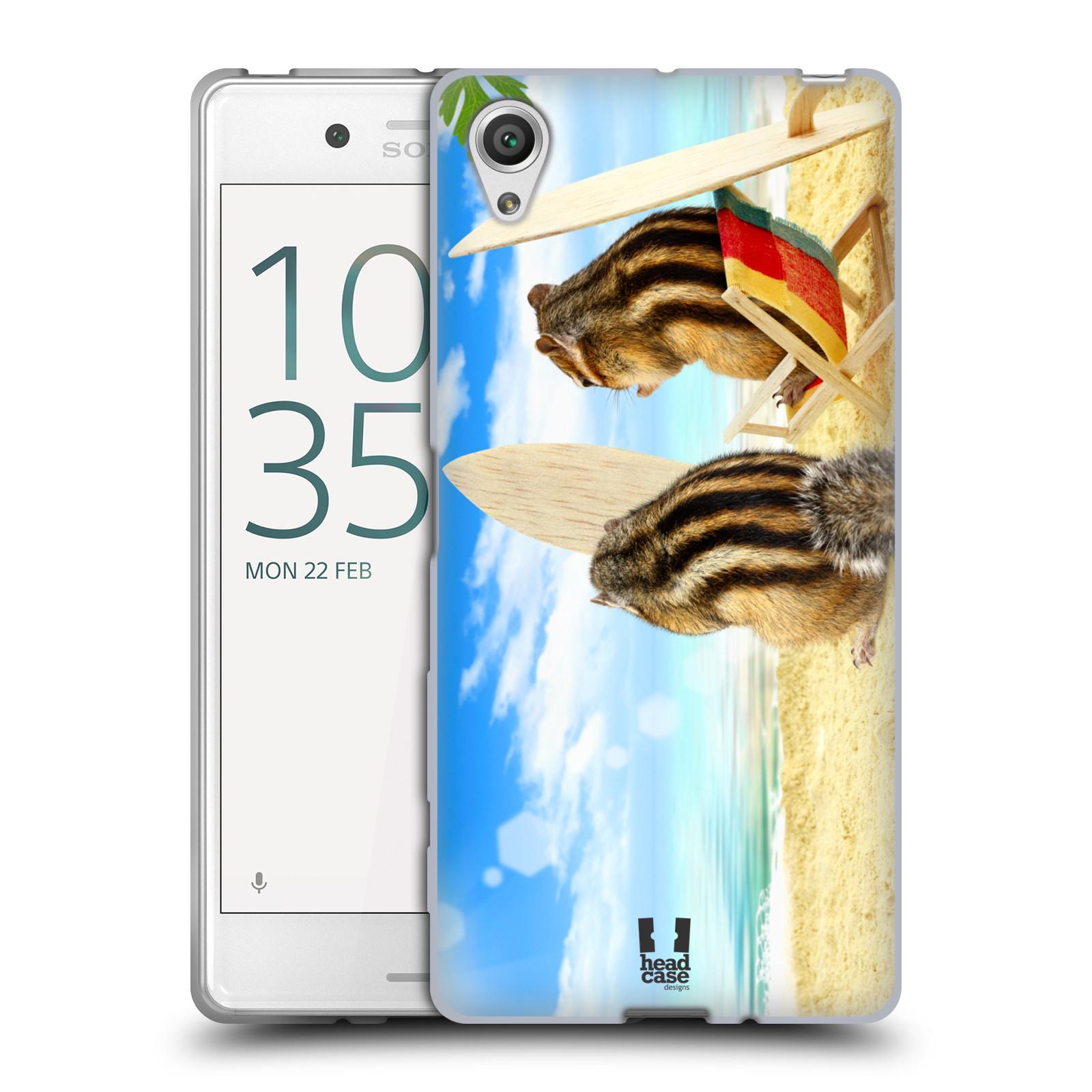 HEAD CASE silikonový obal na mobil Sony Xperia X / X DUAL vzor Legrační zvířátka veverky surfaři u moře