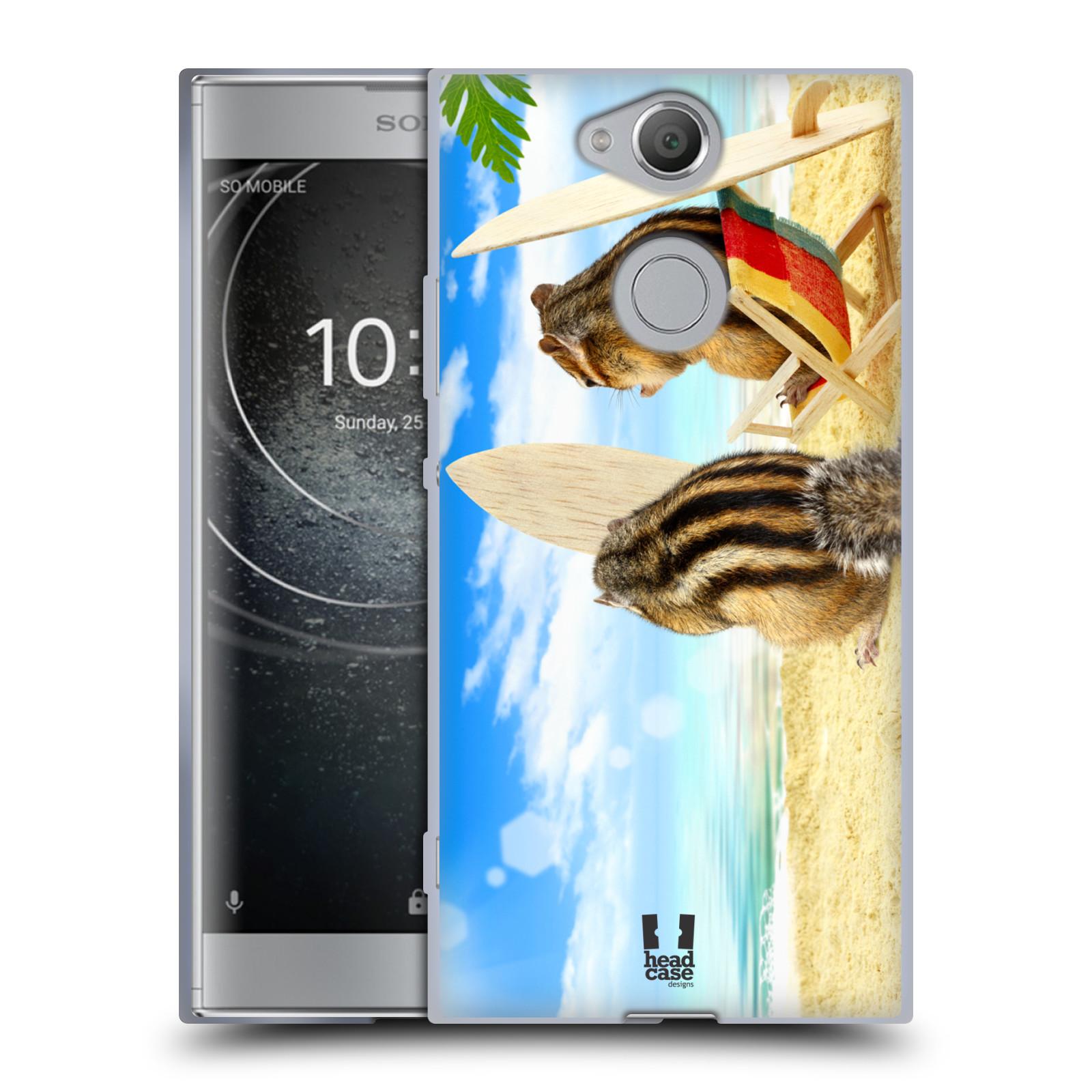 Pouzdro na mobil Sony Xperia XA2 (DUAL SIM, SINGLE SIM) vzor Legrační zvířátka veverky surfaři u moře