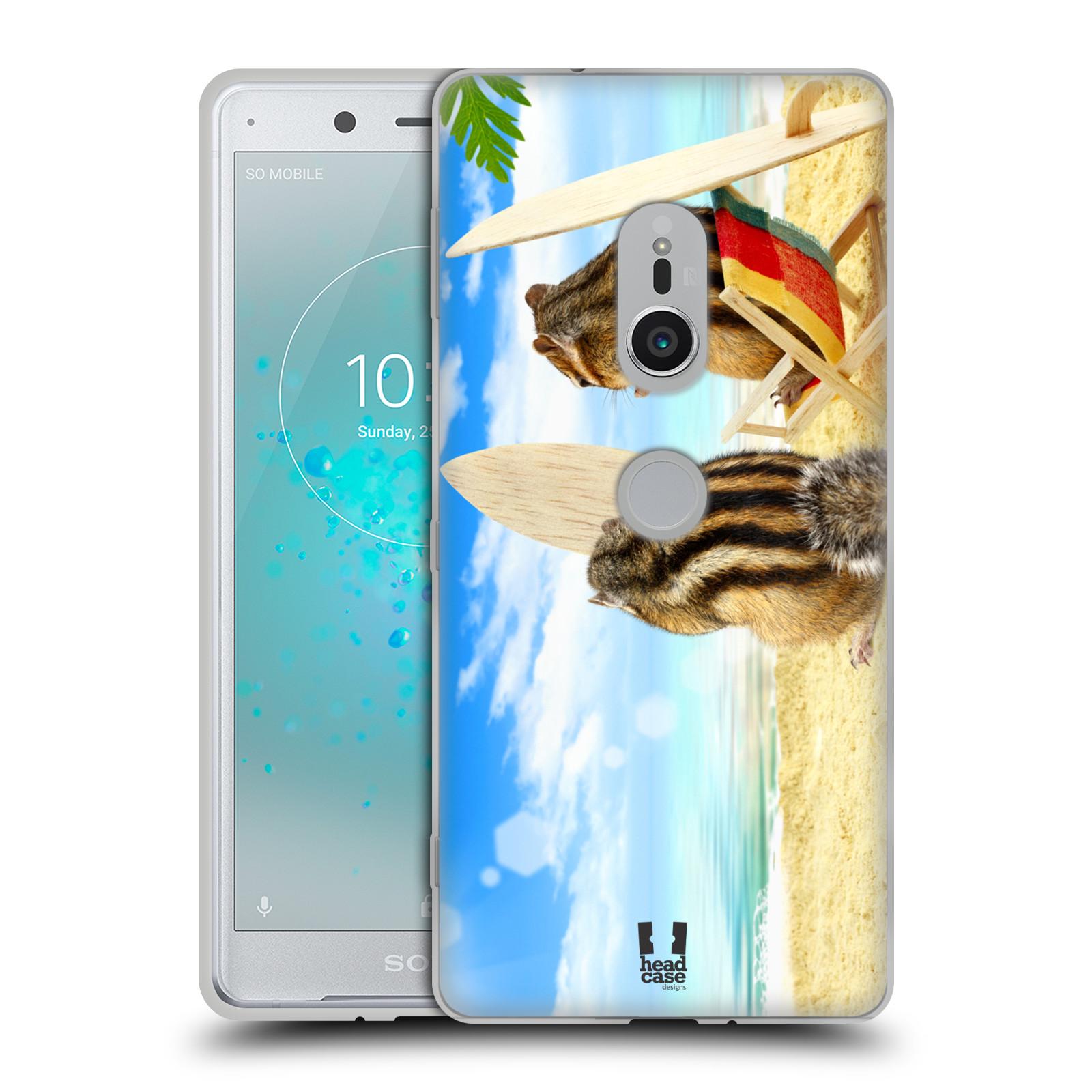 HEAD CASE silikonový obal na mobil Sony Xperia XZ2 vzor Legrační zvířátka veverky surfaři u moře