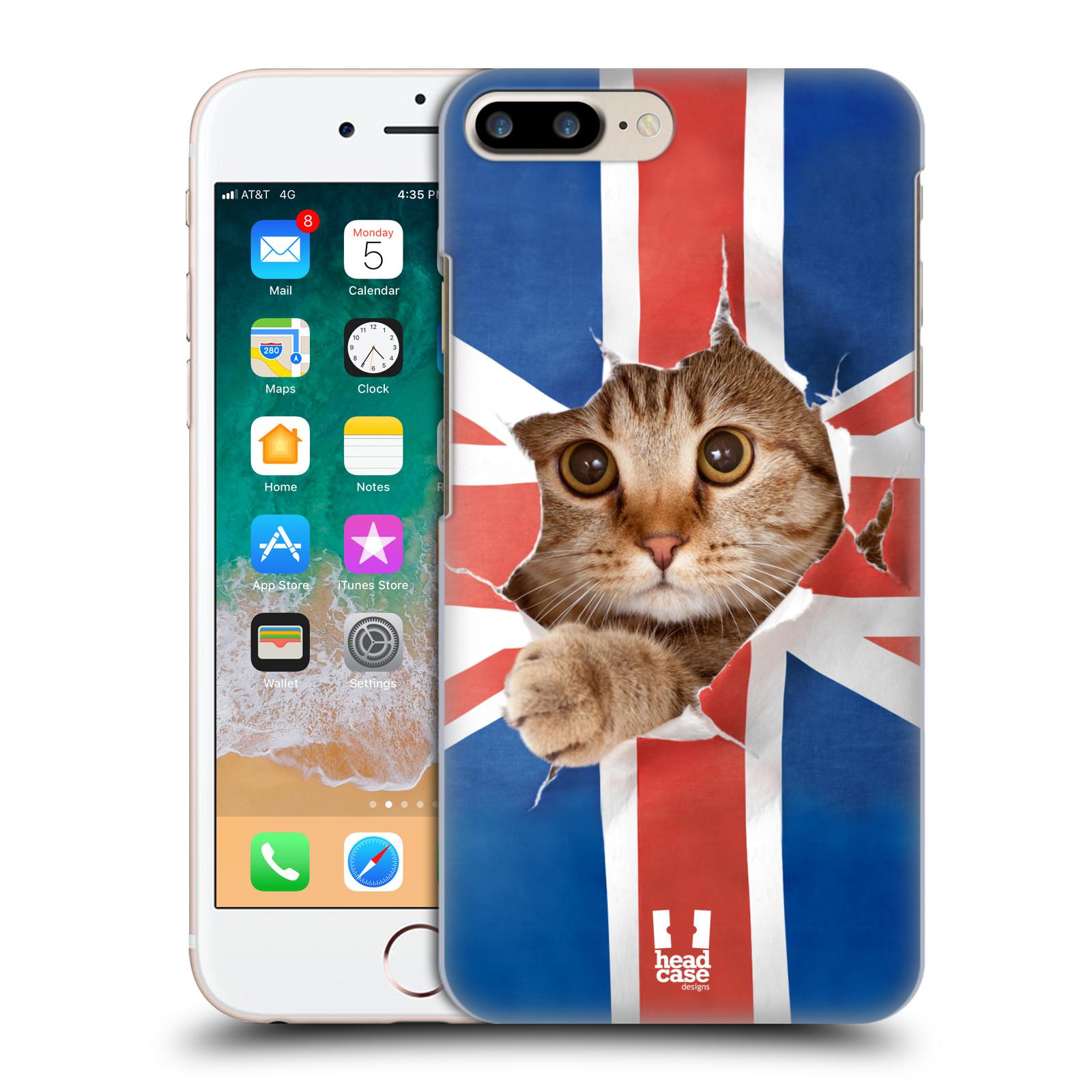 HEAD CASE plastový obal na mobil Apple Iphone 7 PLUS vzor Legrační zvířátka kočička a Velká Británie vlajka