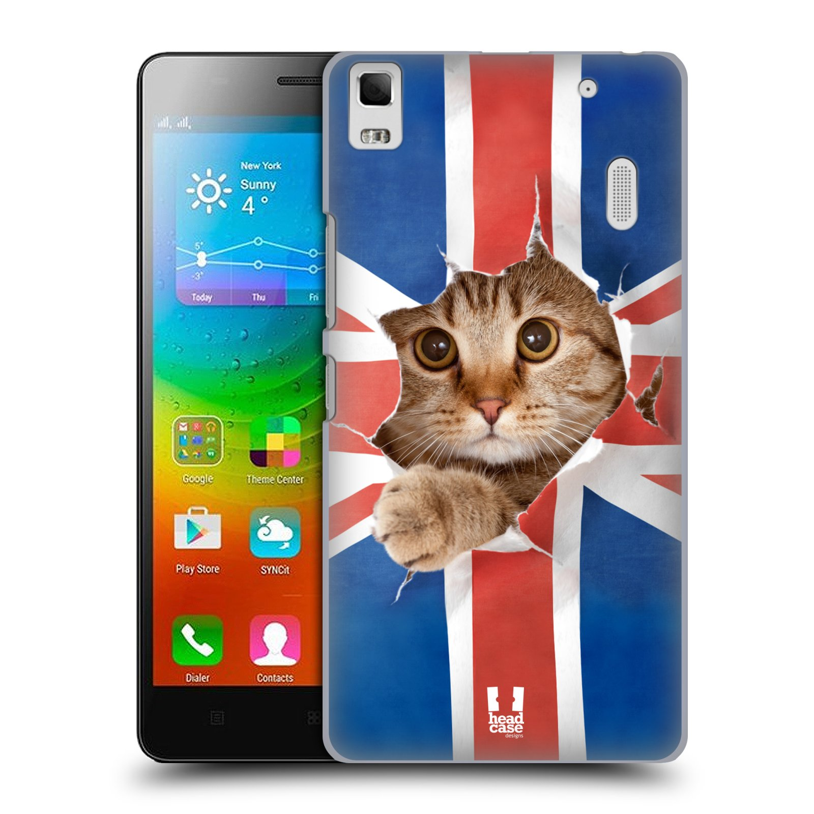 HEAD CASE pevný plastový obal na mobil LENOVO A7000 / A7000 DUAL / K3 NOTE vzor Legrační zvířátka kočička a Velká Británie vlajka