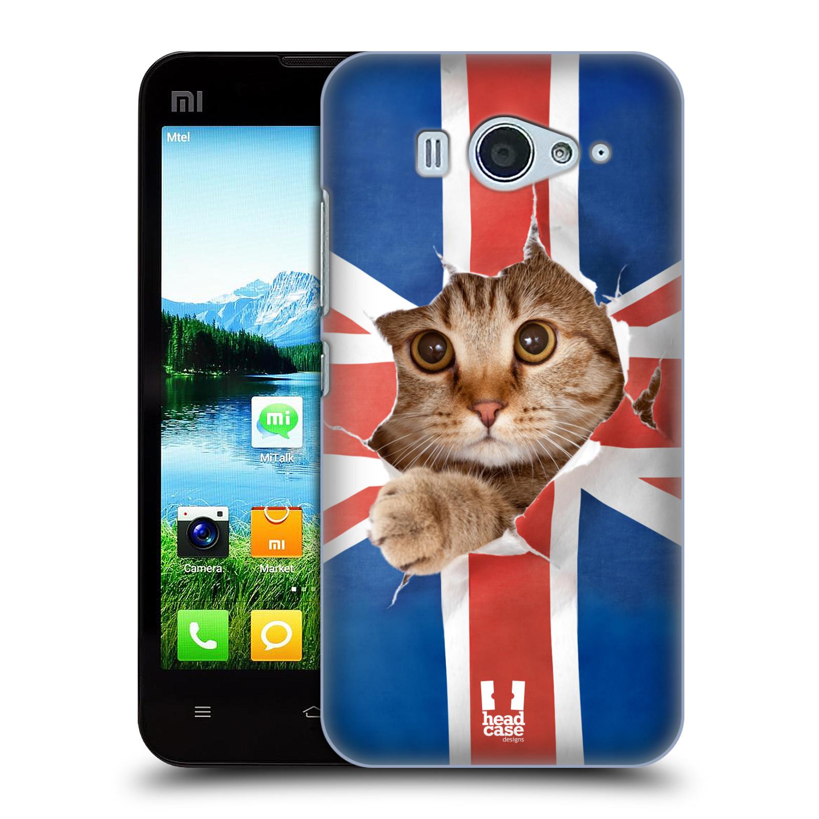 HEAD CASE pevný plastový obal na mobil XIAOMI MI2s vzor Legrační zvířátka kočička a Velká Británie vlajka