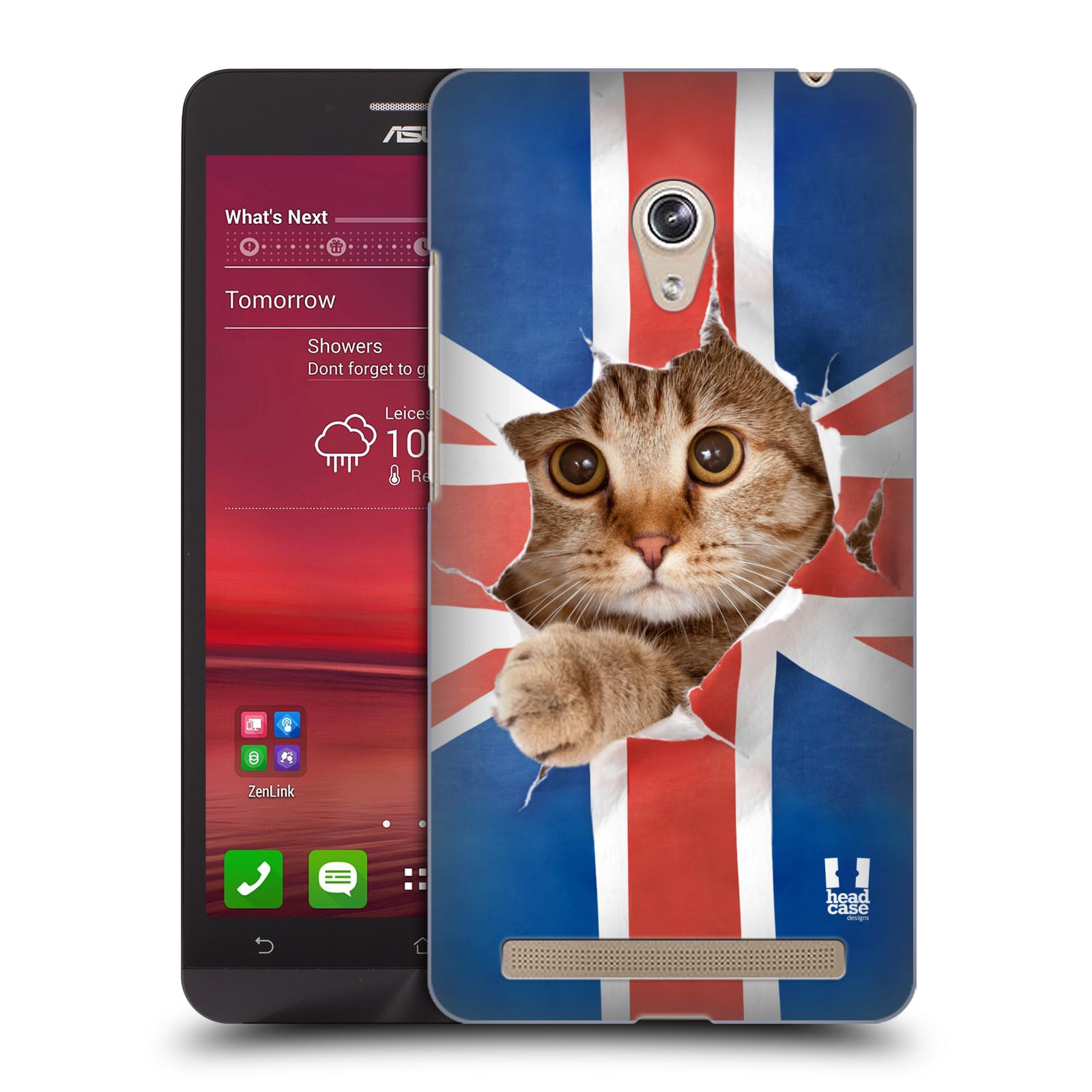 HEAD CASE plastový obal na mobil Asus Zenfone 6 vzor Legrační zvířátka kočička a Velká Británie vlajka