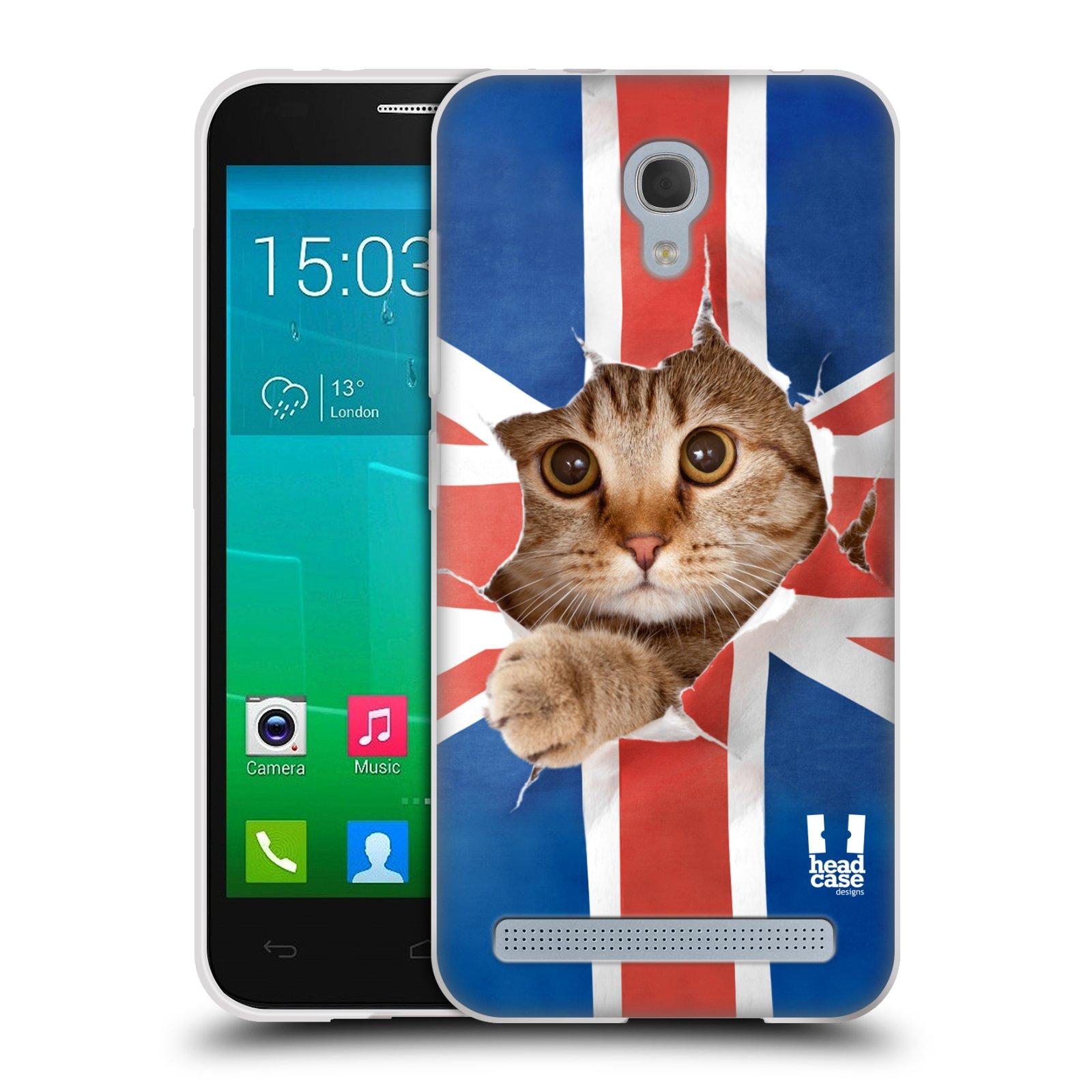 HEAD CASE silikonový obal na mobil Alcatel Idol 2 MINI S 6036Y vzor Legrační zvířátka kočička a Velká Británie vlajka