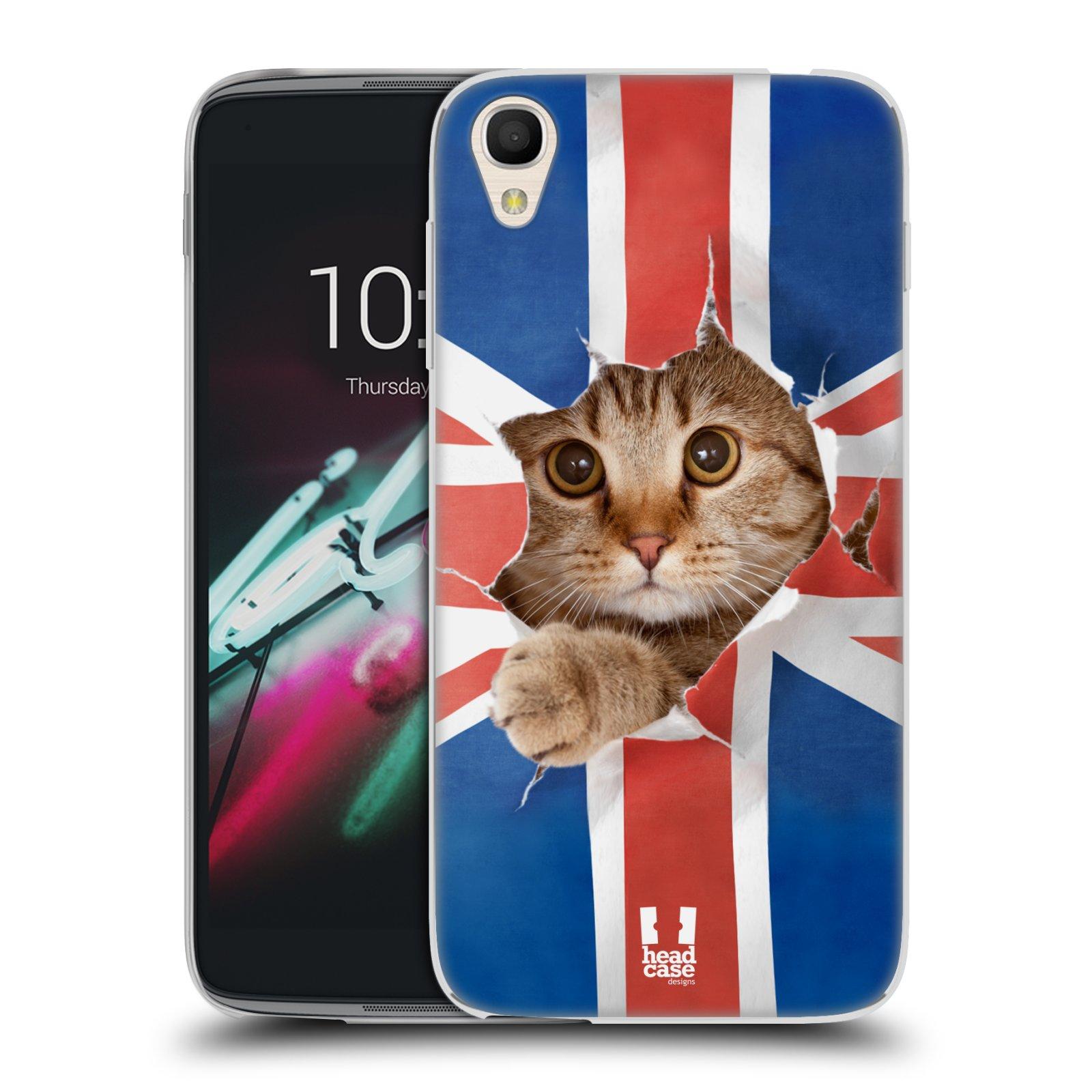 HEAD CASE silikonový obal na mobil Alcatel Idol 3 OT-6039Y (4.7) vzor Legrační zvířátka kočička a Velká Británie vlajka