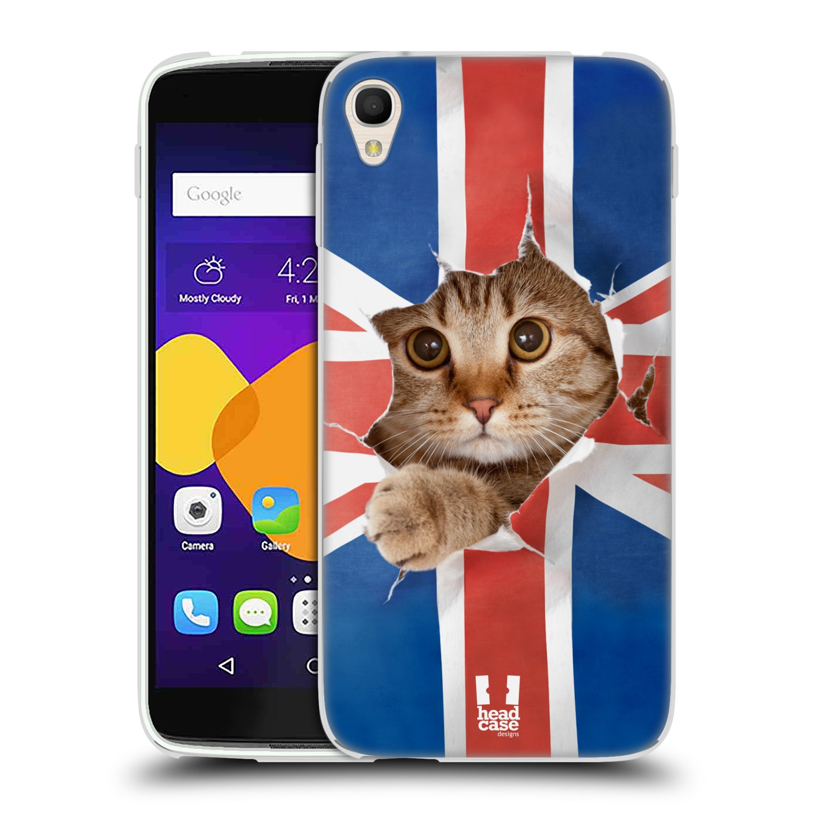 HEAD CASE silikonový obal na mobil Alcatel Idol 3 OT-6045Y (5.5) vzor Legrační zvířátka kočička a Velká Británie vlajka