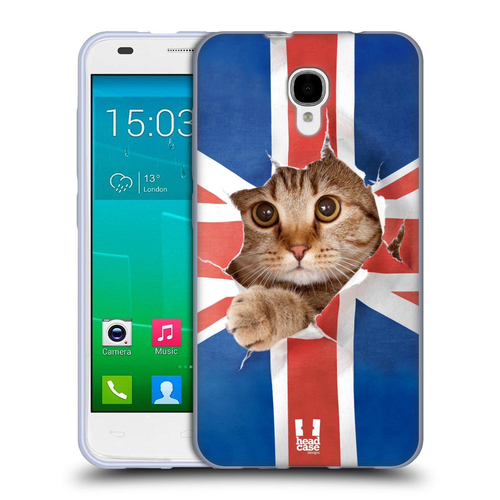 HEAD CASE silikonový obal na mobil Alcatel Idol 2 S OT-6050 vzor Legrační zvířátka kočička a Velká Británie vlajka