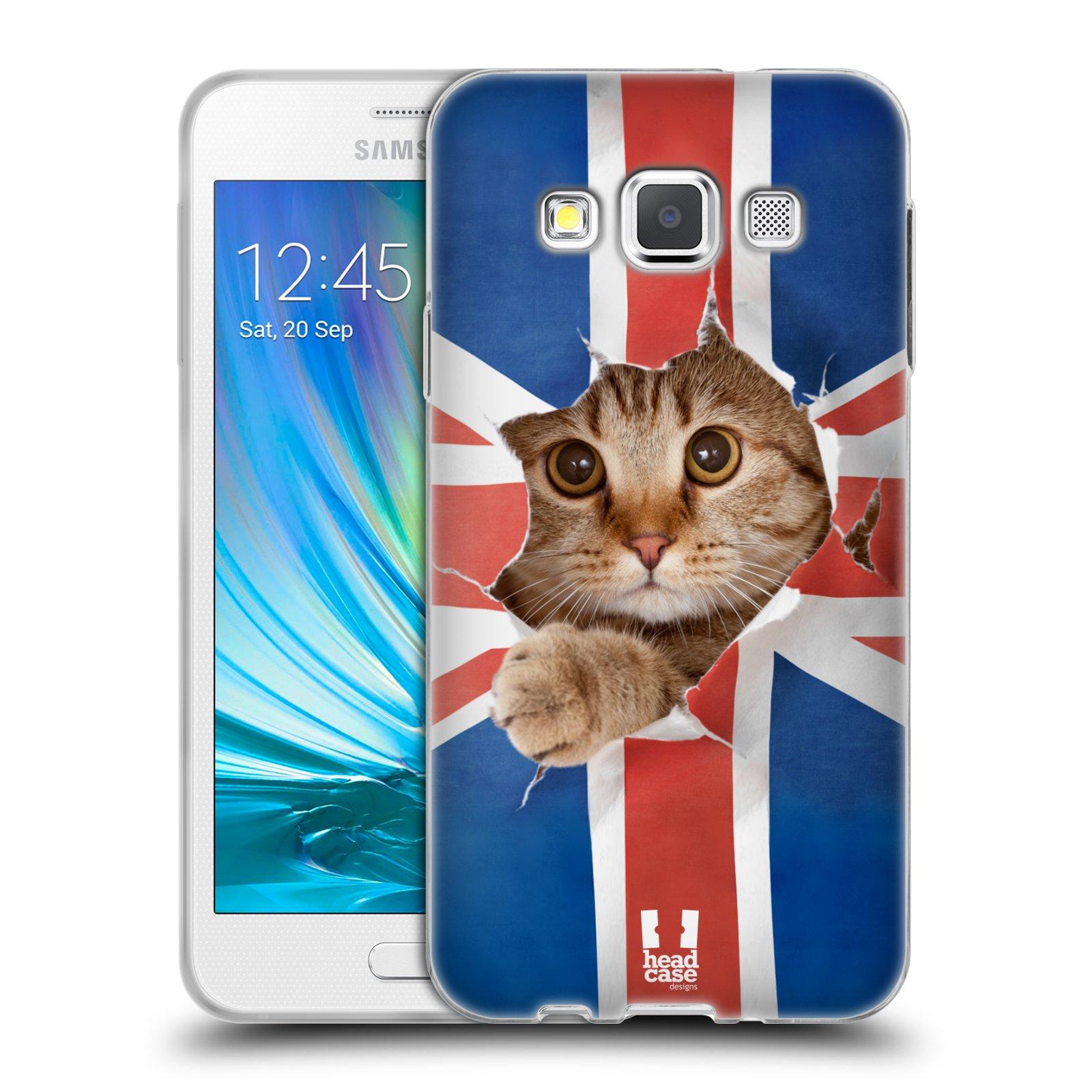 HEAD CASE silikonový obal na mobil Samsung Galaxy A3 vzor Legrační zvířátka kočička a Velká Británie vlajka