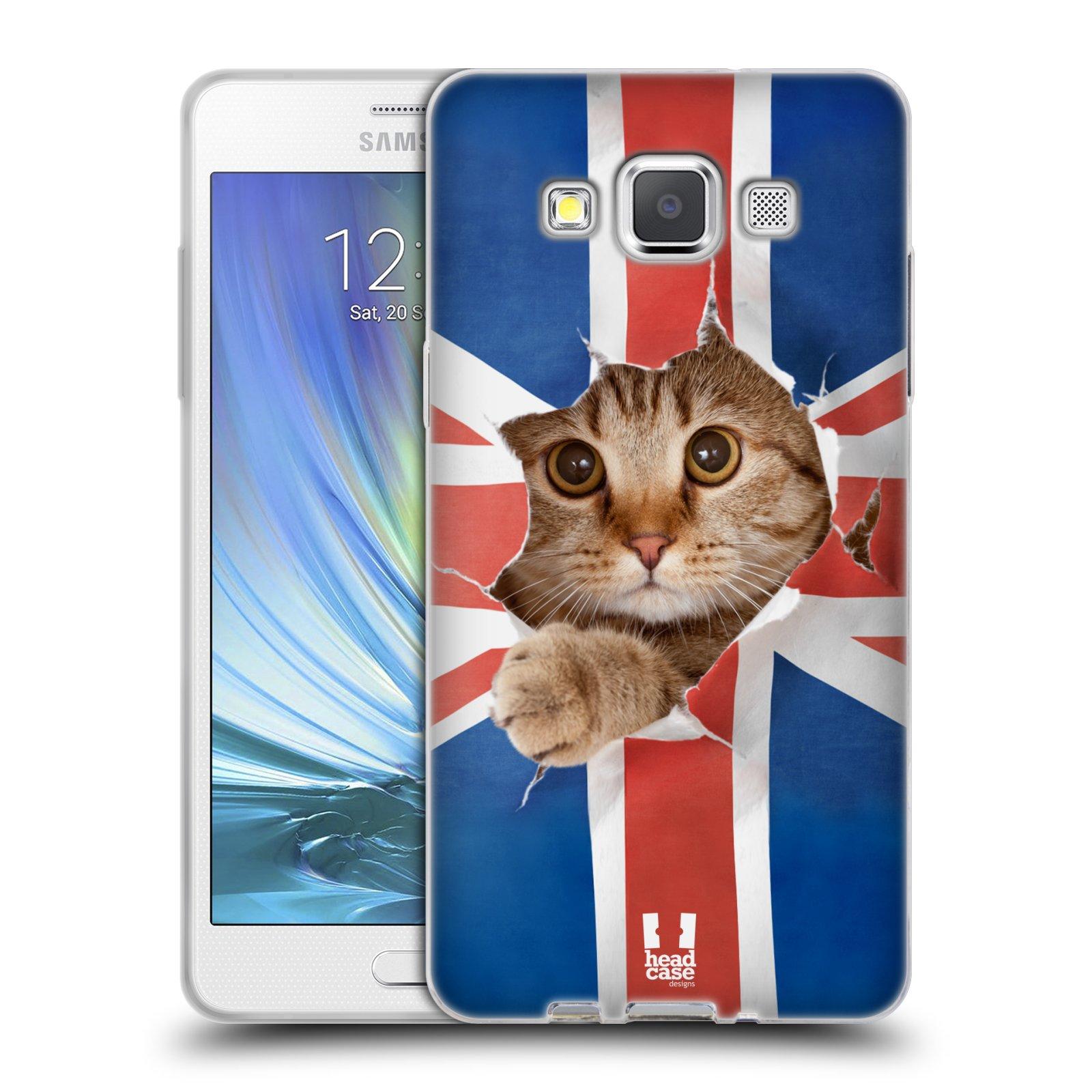 HEAD CASE silikonový obal na mobil Samsung Galaxy A5 vzor Legrační zvířátka kočička a Velká Británie vlajka