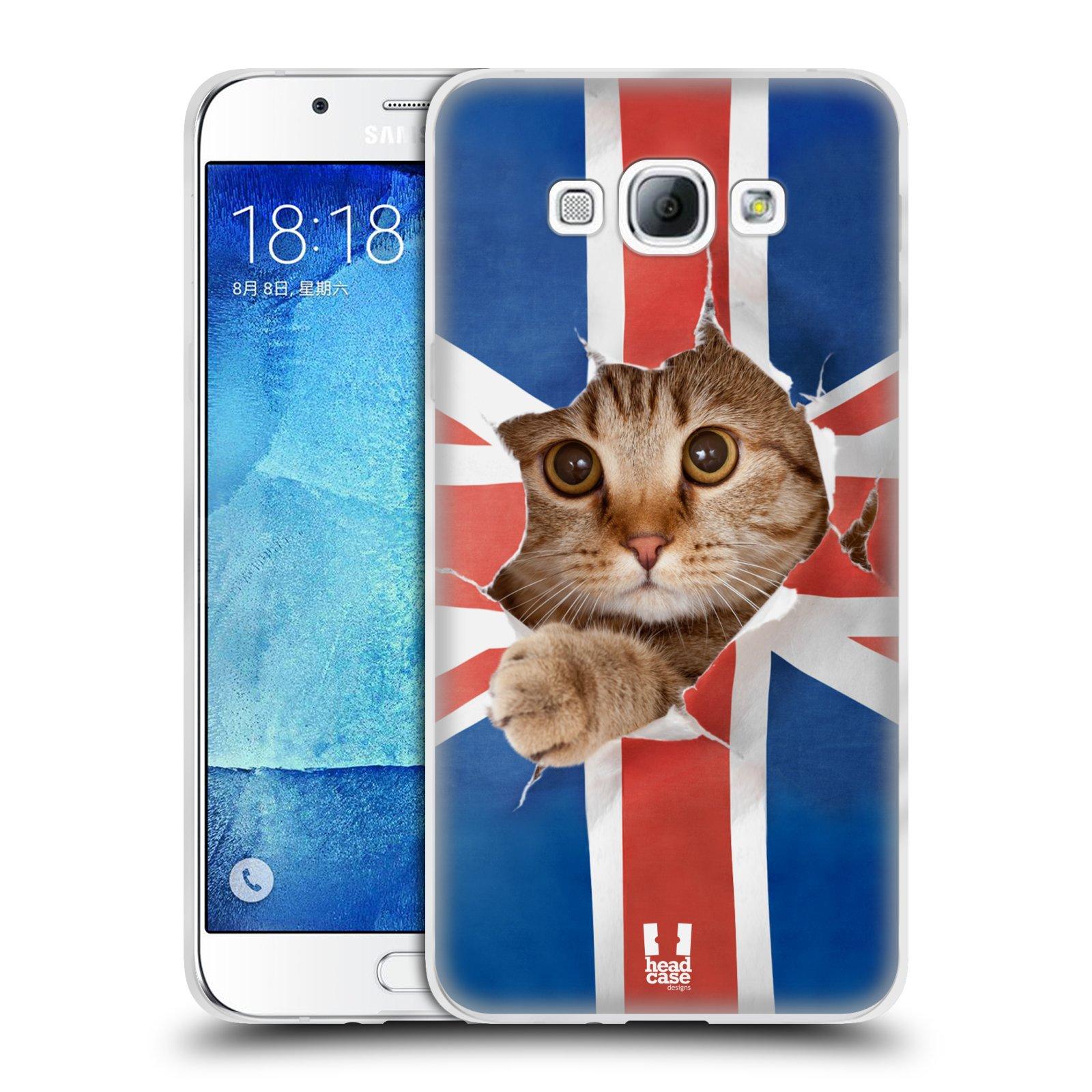 HEAD CASE silikonový obal na mobil Samsung Galaxy A8 vzor Legrační zvířátka kočička a Velká Británie vlajka