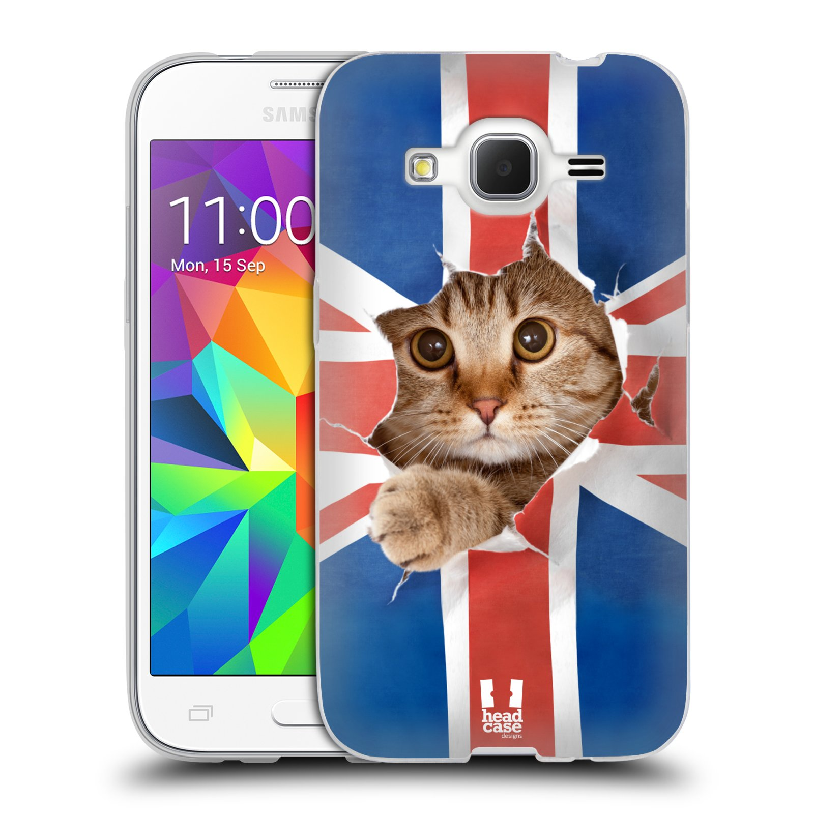 HEAD CASE silikonový obal na mobil Samsung Galaxy Core Prime (G360) vzor Legrační zvířátka kočička a Velká Británie vlajka