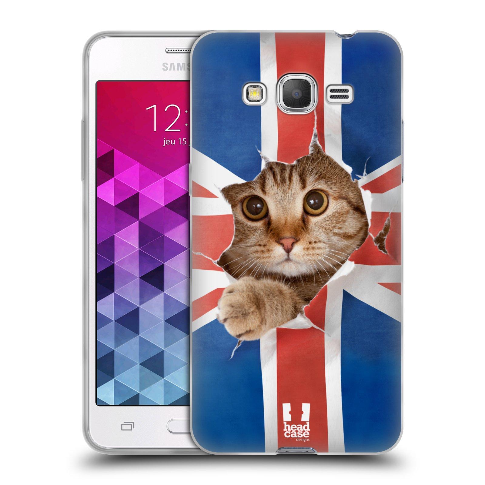 HEAD CASE silikonový obal na mobil Samsung Galaxy GRAND PRIME vzor Legrační zvířátka kočička a Velká Británie vlajka