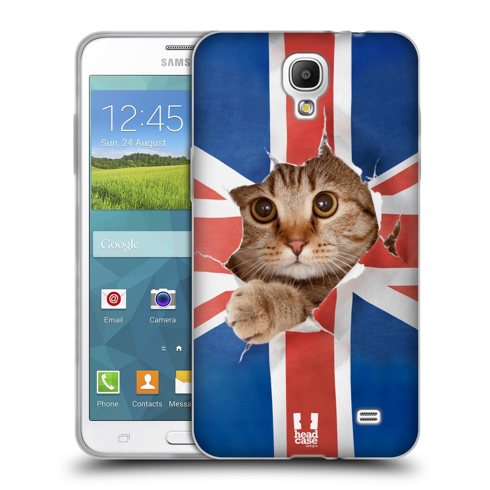 HEAD CASE silikonový obal na mobil Samsung Galaxy Mega 2 vzor Legrační zvířátka kočička a Velká Británie vlajka