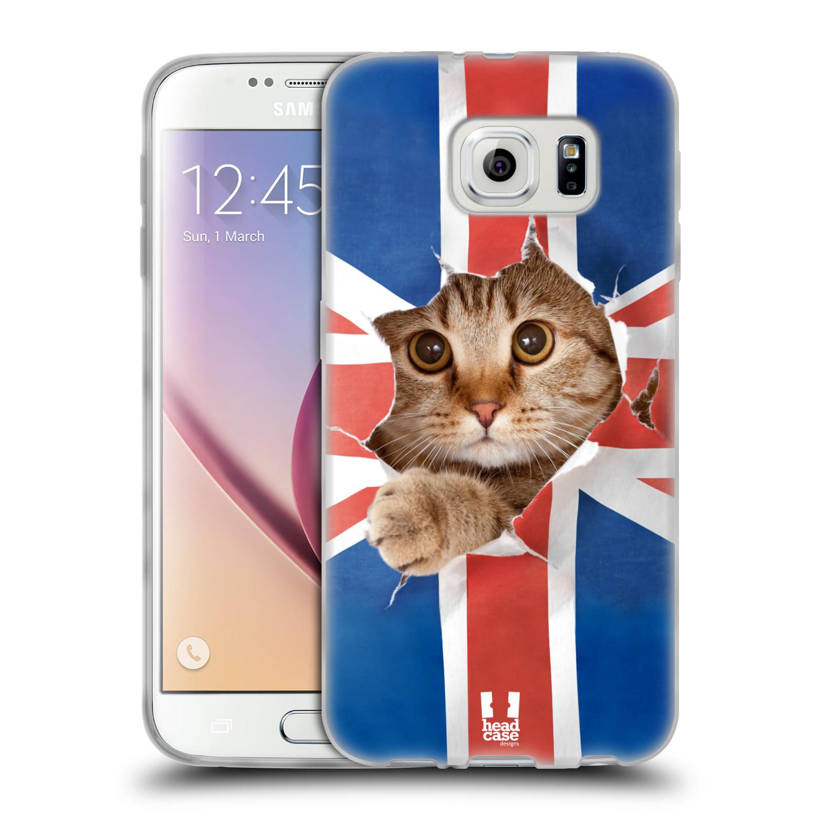 HEAD CASE silikonový obal na mobil Samsung Galaxy S6 vzor Legrační zvířátka kočička a Velká Británie vlajka
