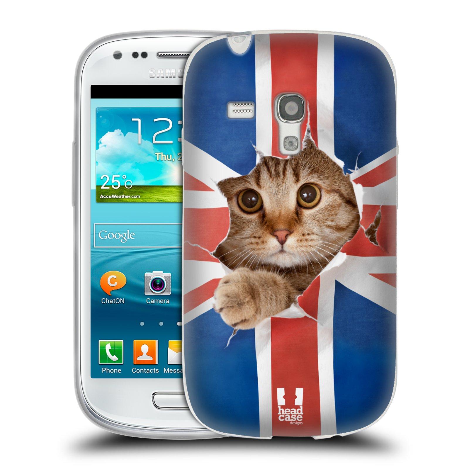 HEAD CASE silikonový obal na mobil Samsung Galaxy S3 MINI i8190 vzor Legrační zvířátka kočička a Velká Británie vlajka