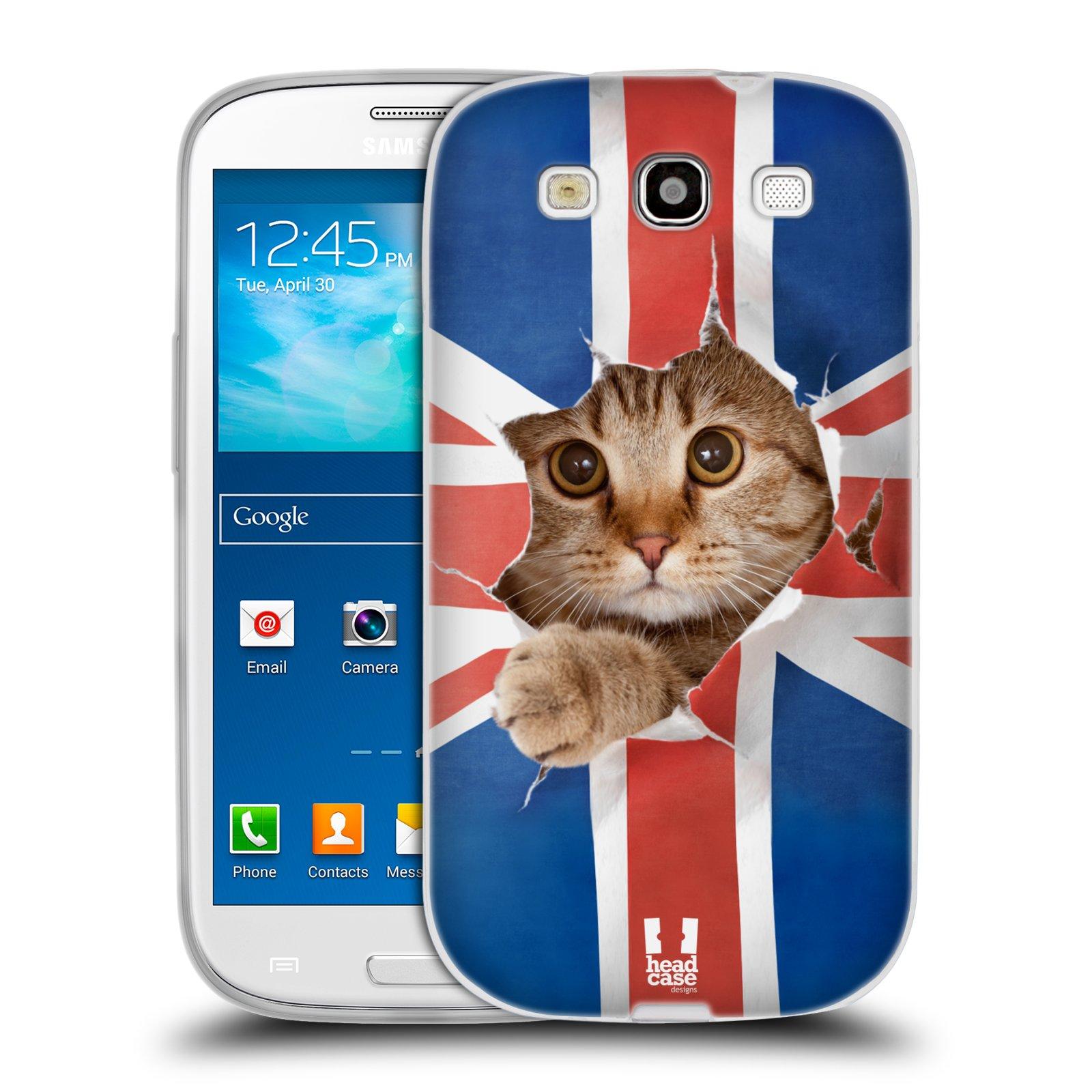 HEAD CASE silikonový obal na mobil Samsung Galaxy S3 i9300 vzor Legrační zvířátka kočička a Velká Británie vlajka