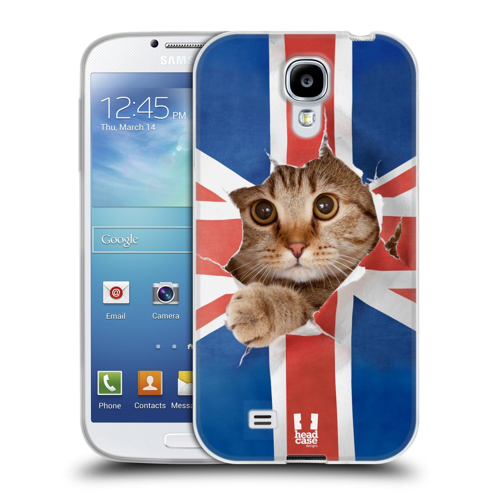 HEAD CASE silikonový obal na mobil Samsung Galaxy S4 i9500 vzor Legrační zvířátka kočička a Velká Británie vlajka