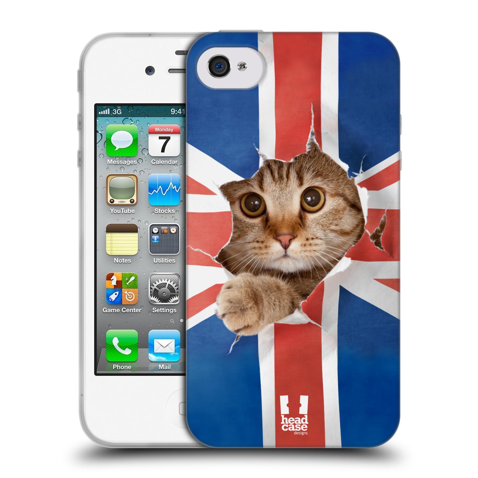 HEAD CASE silikonový obal na mobil Apple Iphone 4/4S vzor Legrační zvířátka kočička a Velká Británie vlajka