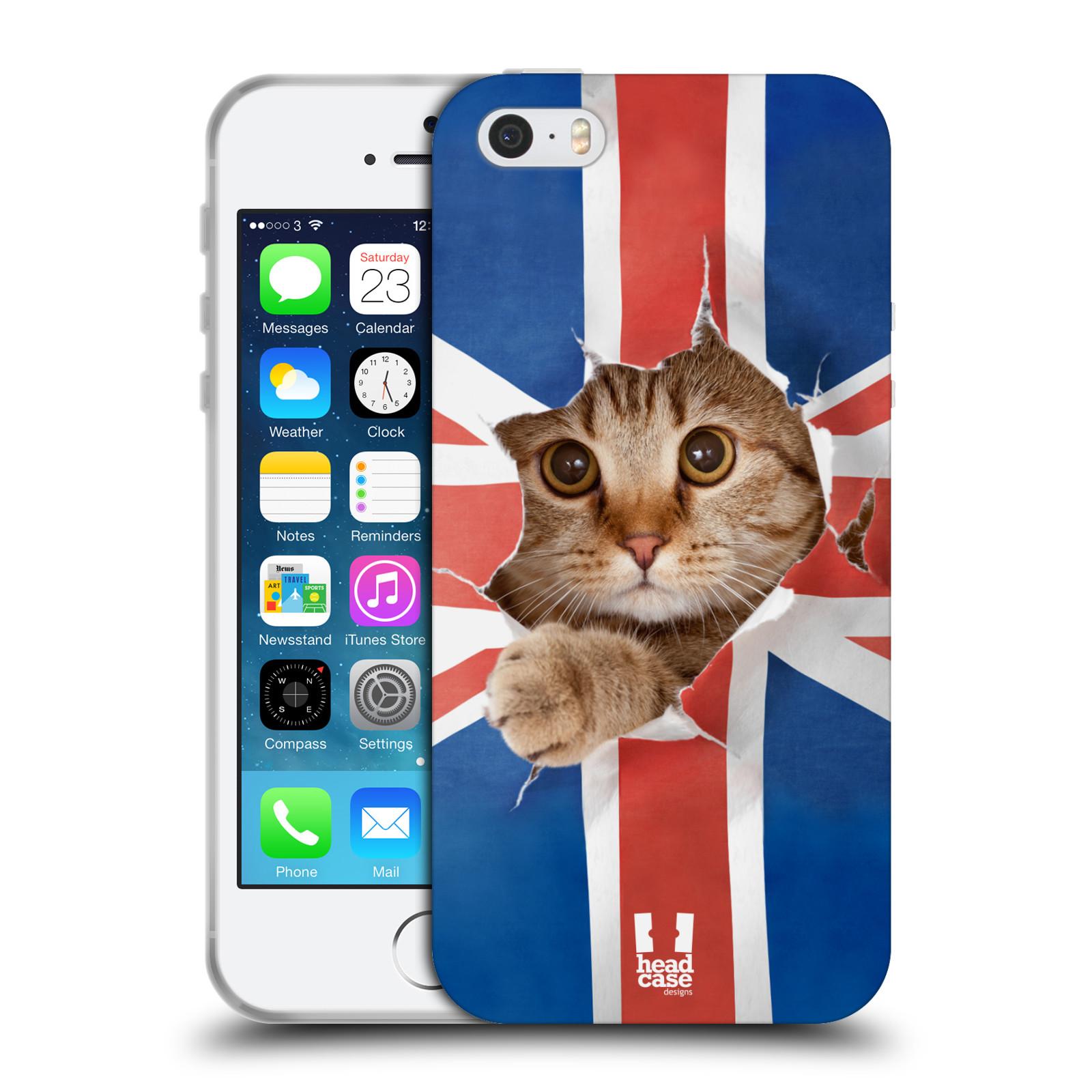 HEAD CASE silikonový obal na mobil Apple Iphone 5/5S vzor Legrační zvířátka kočička a Velká Británie vlajka
