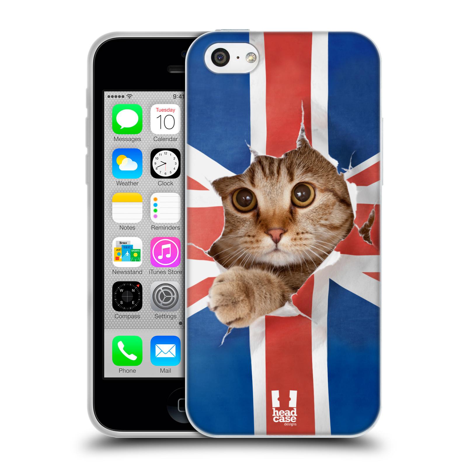 HEAD CASE silikonový obal na mobil Apple Iphone 5C vzor Legrační zvířátka kočička a Velká Británie vlajka
