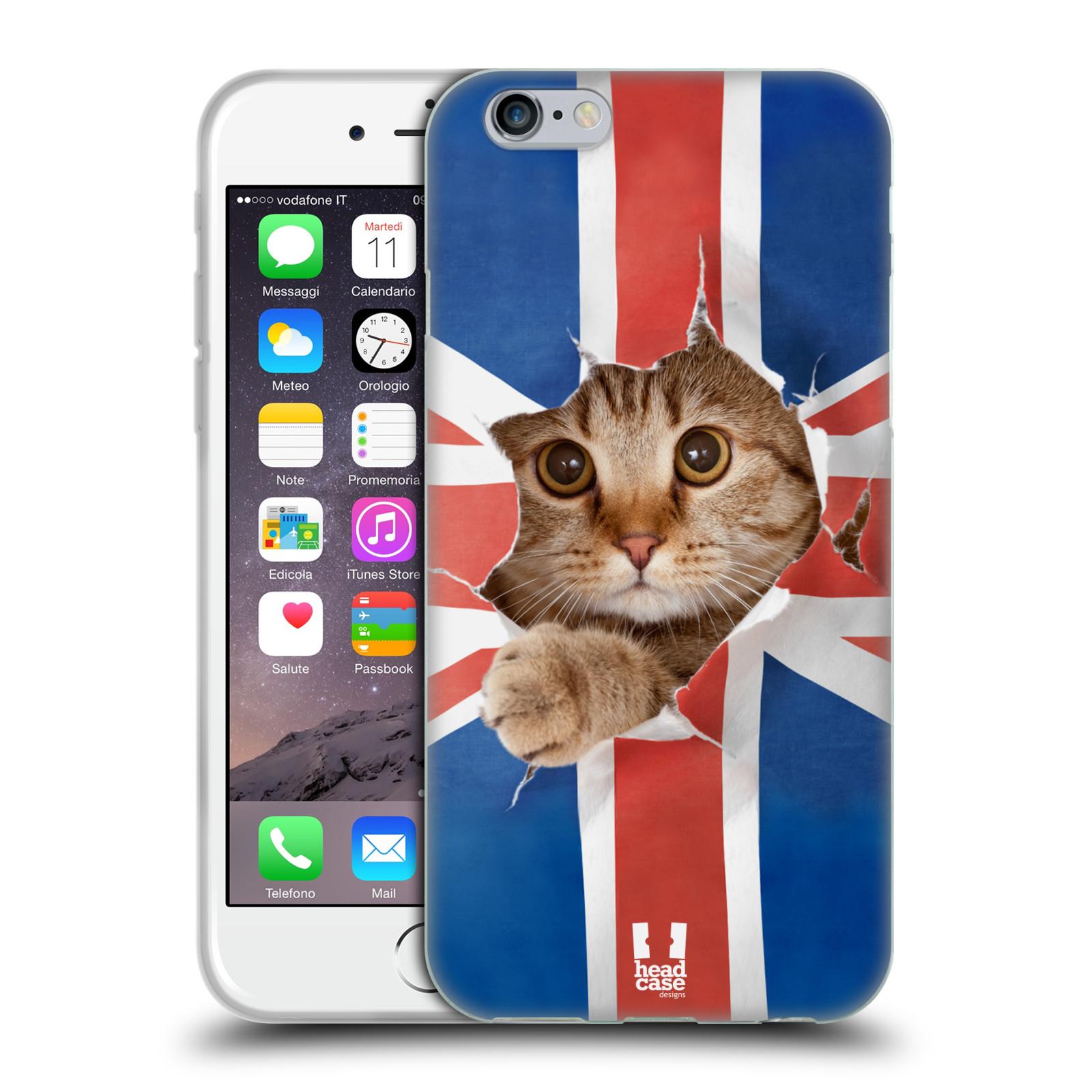 HEAD CASE silikonový obal na mobil Apple Iphone 6/6S vzor Legrační zvířátka kočička a Velká Británie vlajka
