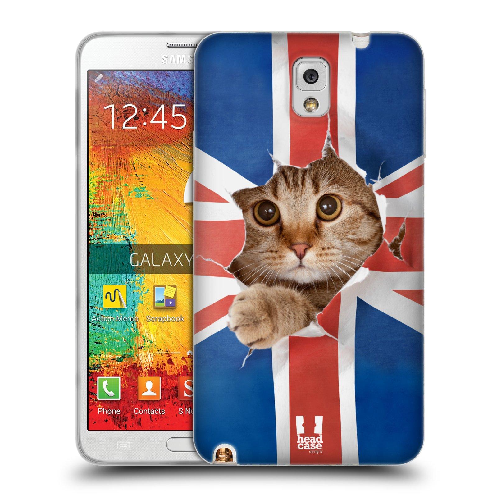 HEAD CASE silikonový obal na mobil Samsung Galaxy Note 3 (N9005) vzor Legrační zvířátka kočička a Velká Británie vlajka