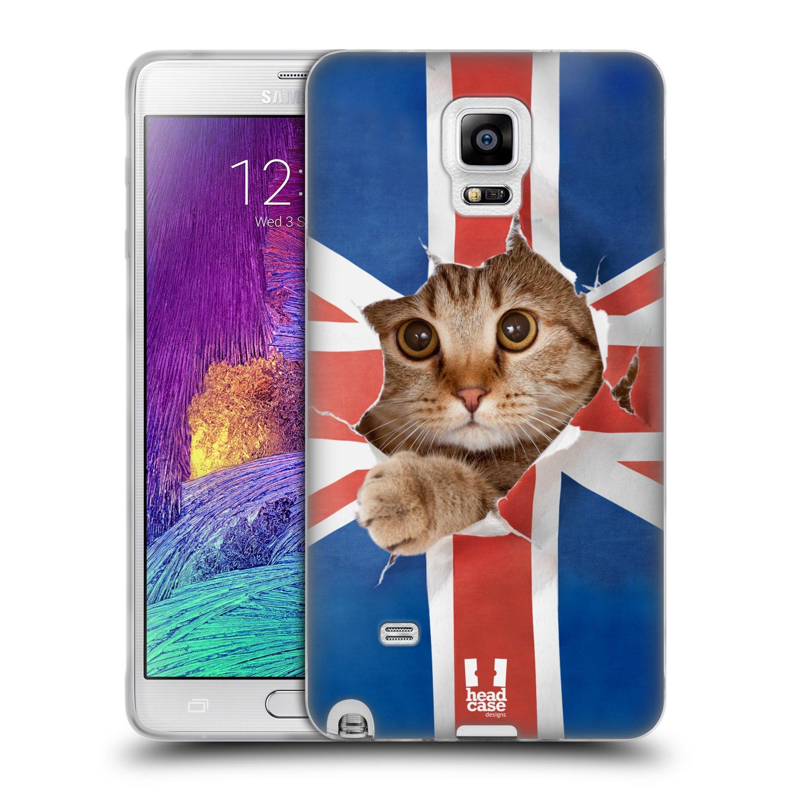 HEAD CASE silikonový obal na mobil Samsung Galaxy Note 4 (N910) vzor Legrační zvířátka kočička a Velká Británie vlajka