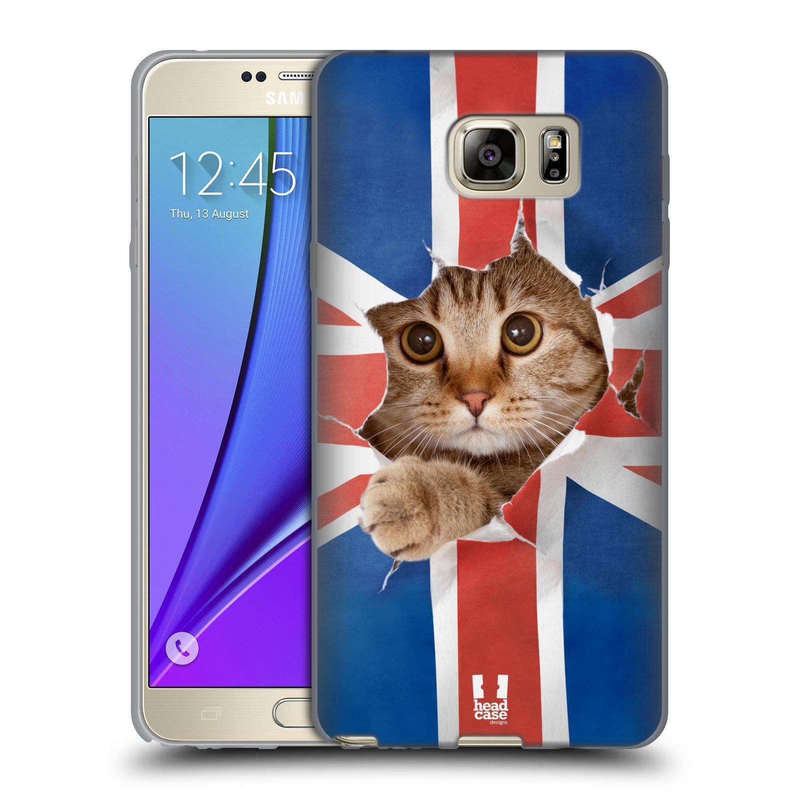 HEAD CASE silikonový obal na mobil Samsung Galaxy Note 5 (N920) vzor Legrační zvířátka kočička a Velká Británie vlajka